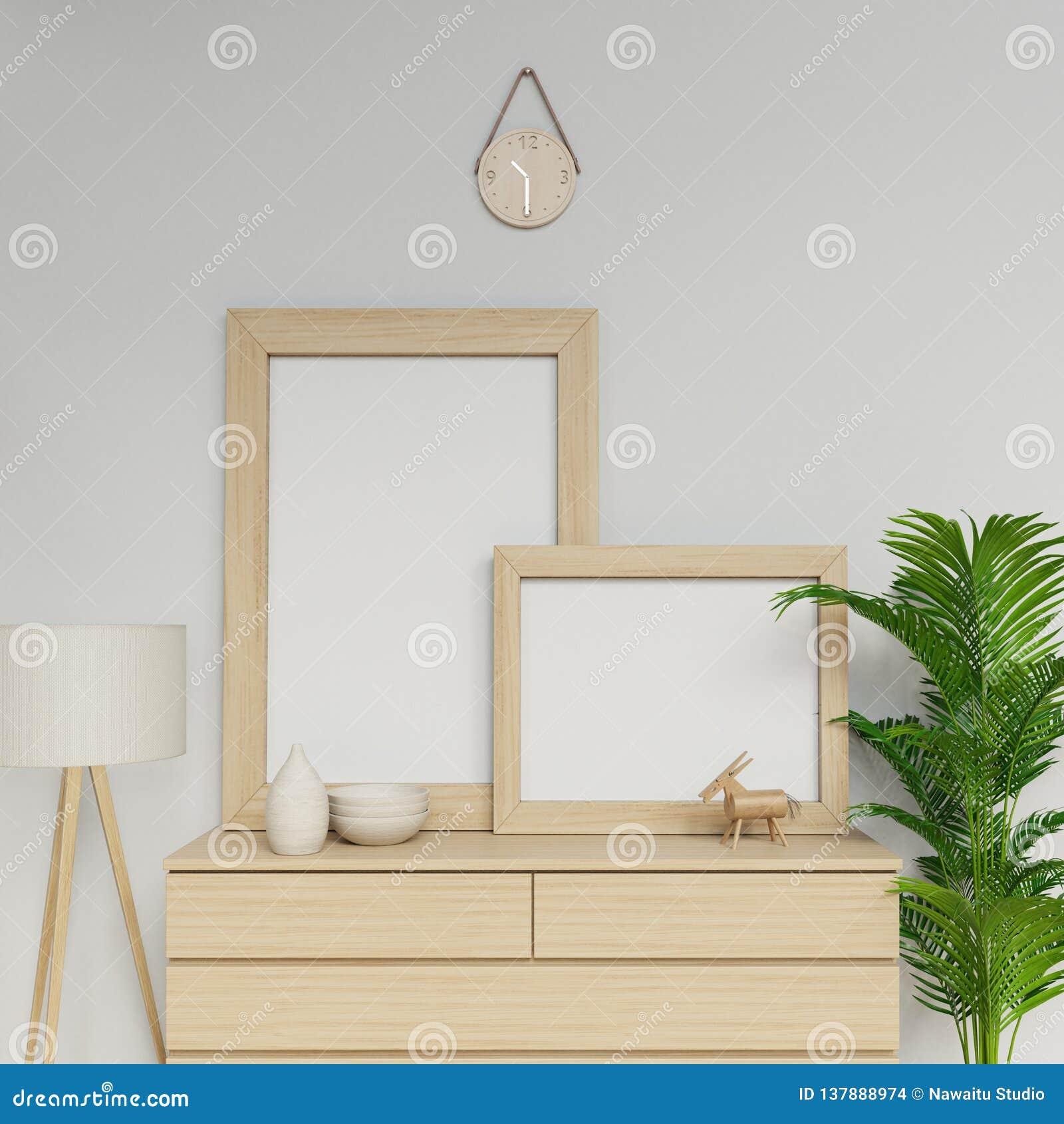 Photorealistic 3d представляют простого скандинавского интерьера дома с шаблоном модель-макета 2 пустым плакатов a1 и a2 с деревя