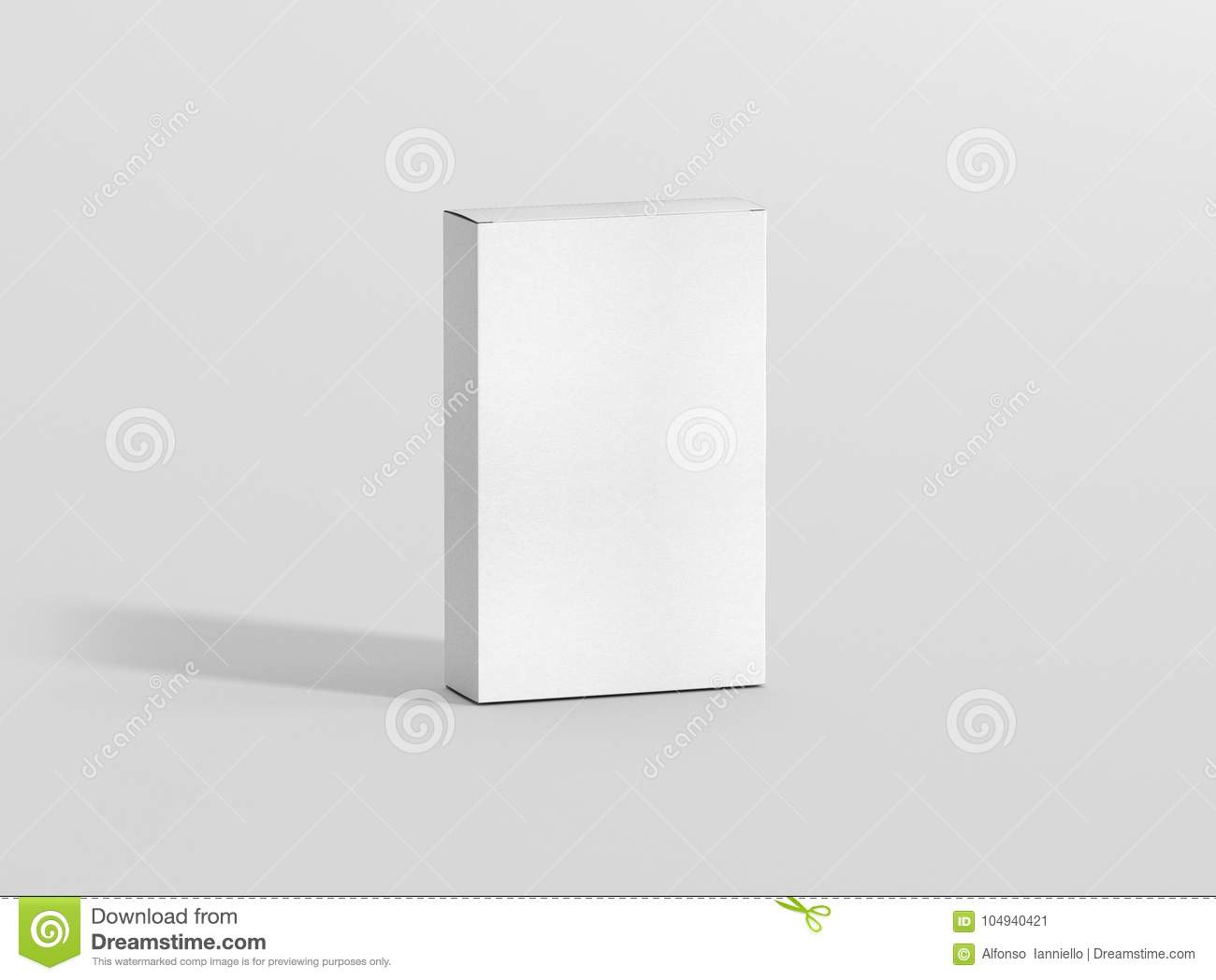 Photorealistic high quality Flat Rectangle Cardboard Package Box Mockup on light grey background.