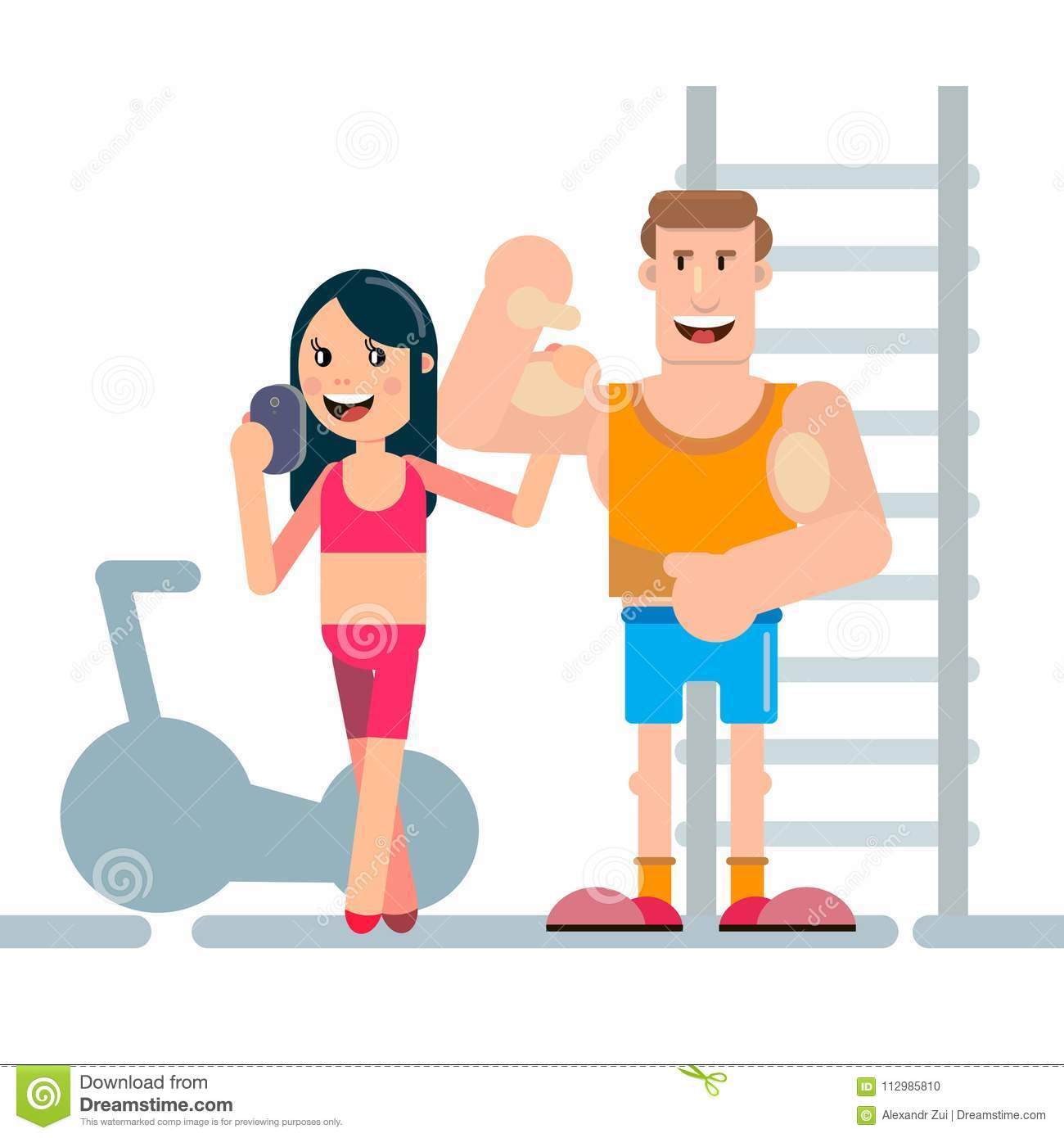 Photos of athletes in fitness room