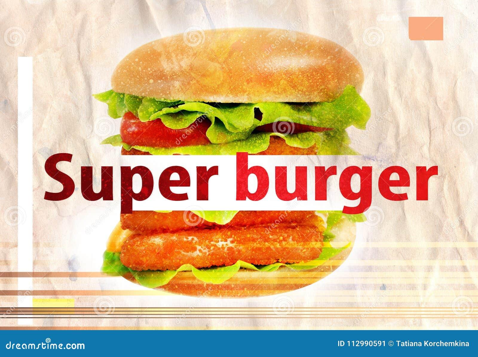 Photos big tasty burger with fish