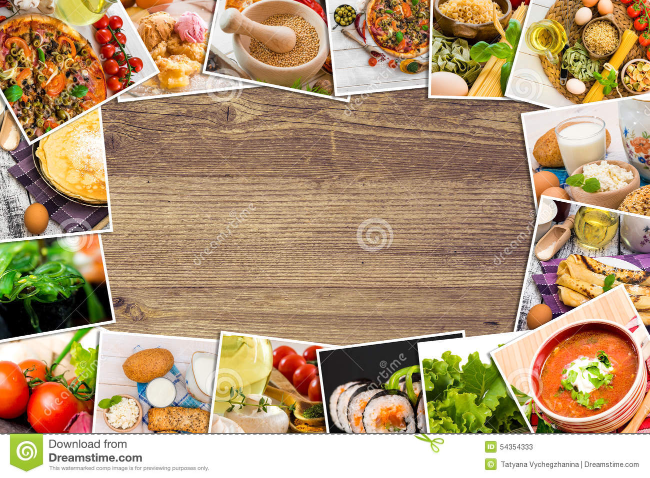 Wooden Food Table ~ Photos of food on a wooden table stock photo image