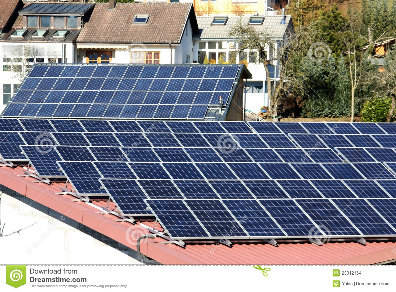 Photovoltaic Panels On Roof Stock Images - Image: 23012164
