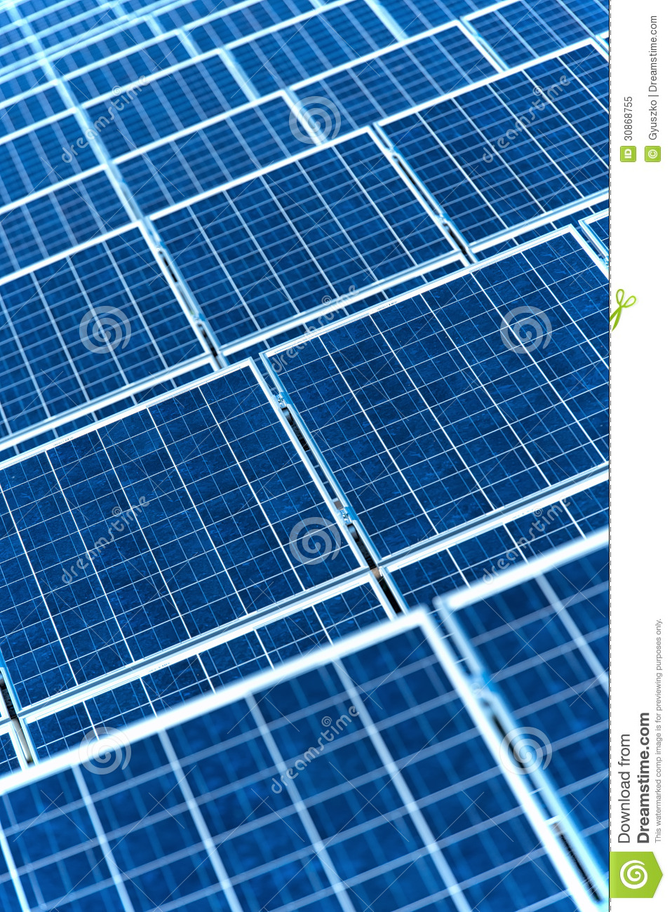 Photovoltaic Solar Panels For Renewable Electrical Energy Production.