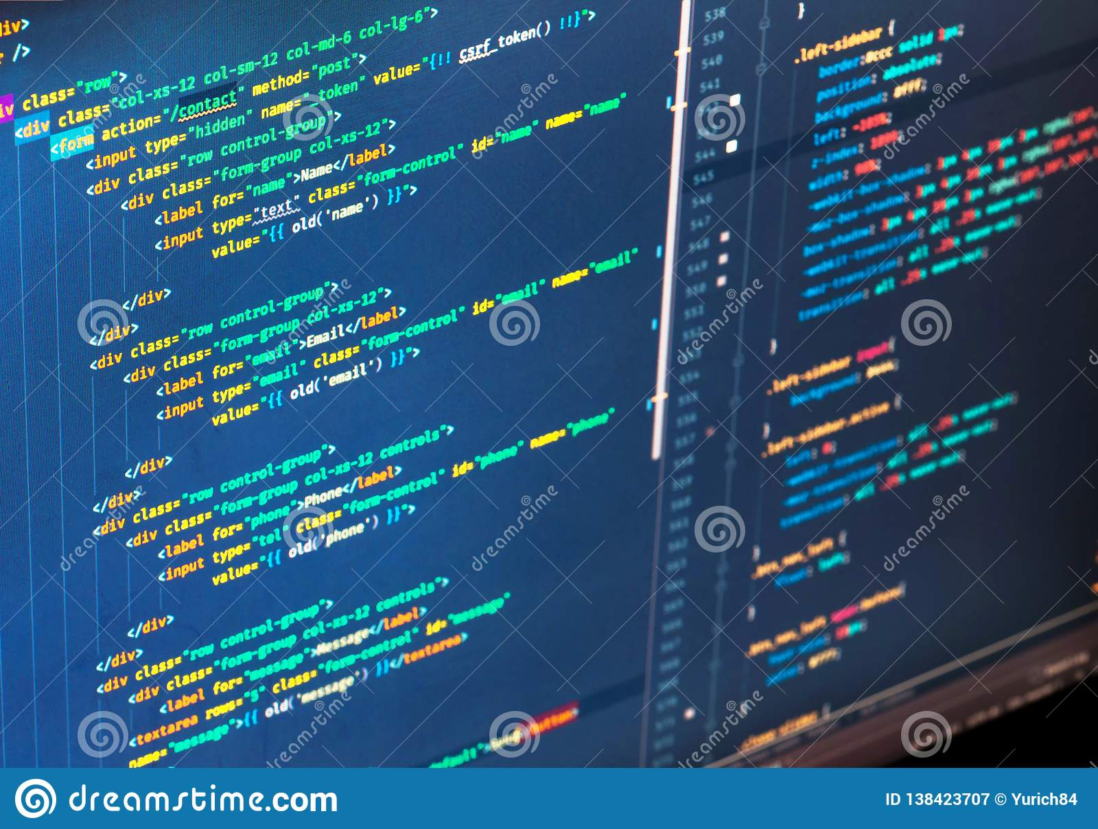 Php code of different colors on blue background