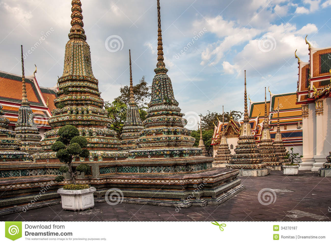 Phra Maha Stupa Of Wat Phra Chetuphon In Bangkok Royalty ...