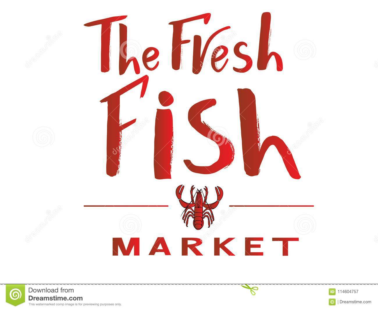 Phrase Of The Fresh Fish Market Red Color With Illustration Of ...