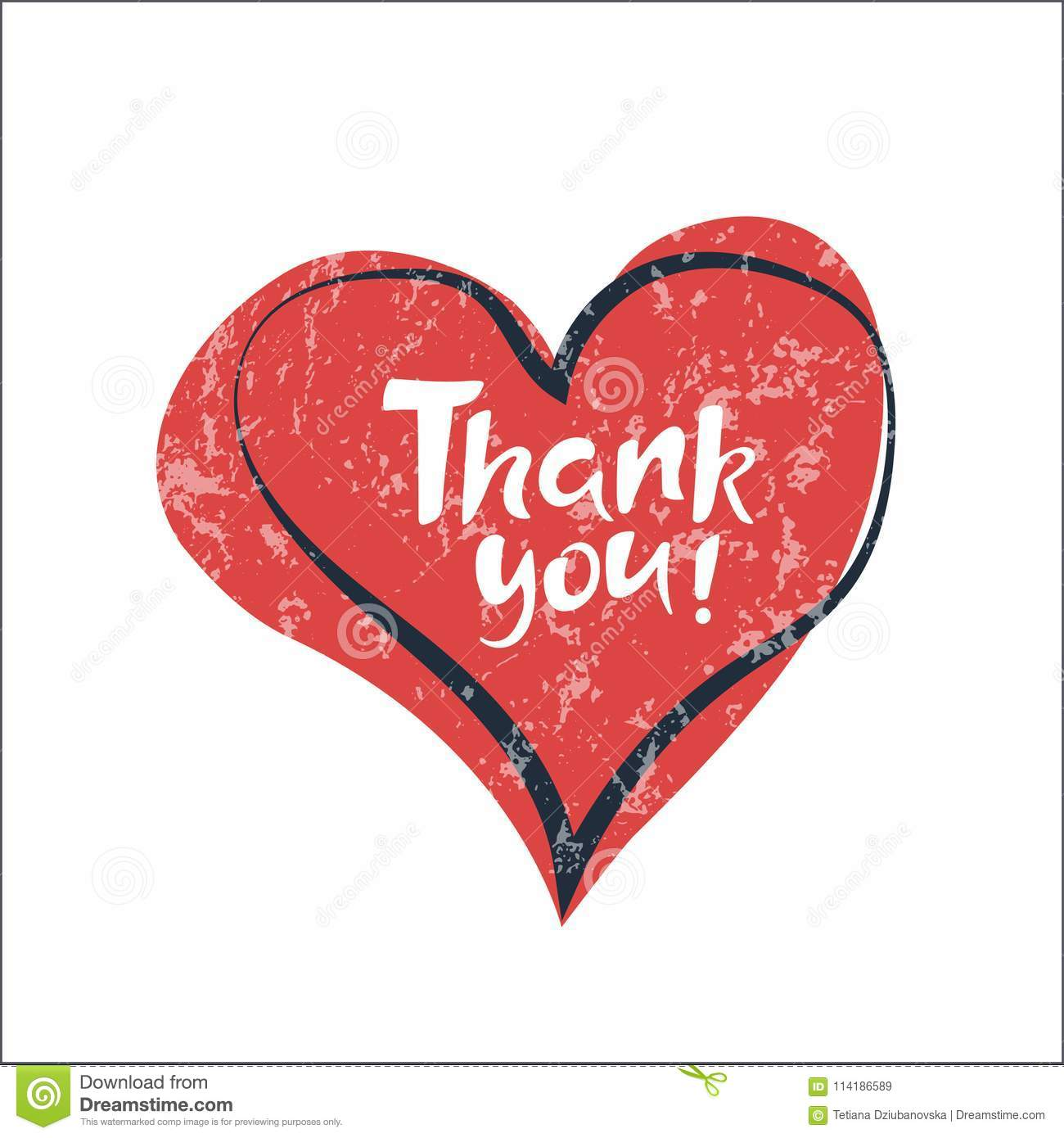 phrase thank you on red heart background lettering artwork for
