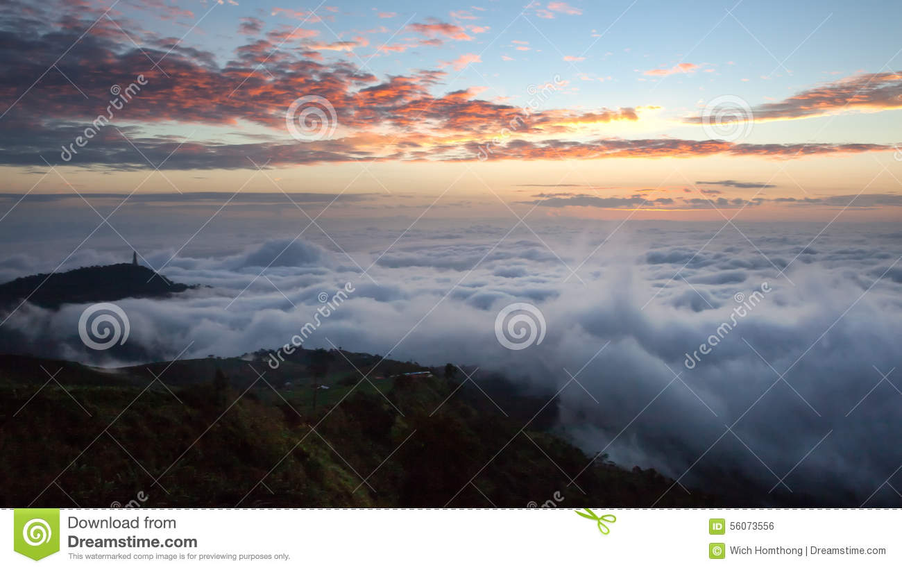 Dramatic clouds with mountain in dawn