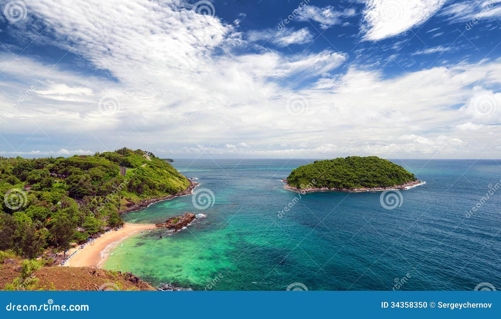Phuket beach, tropical island and sea view. Thailand summer