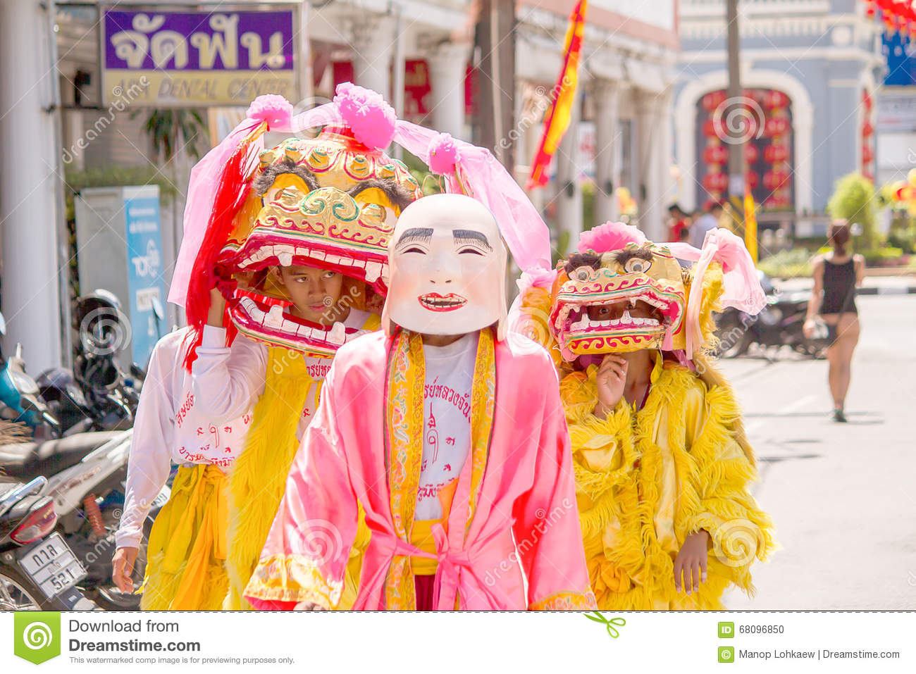 Phuket, Thailand - Oct 14, 2015 : Unidentified participants wearing mascot in the ceremony during Phuket vegetarian festival