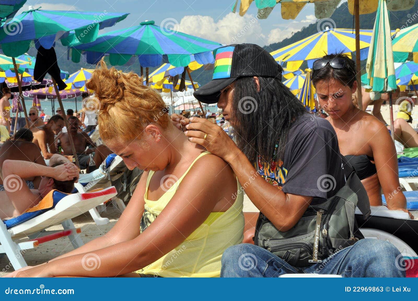 Henna Tattoo Thailand : Phuket thailand tattoo artist at work editorial stock photo