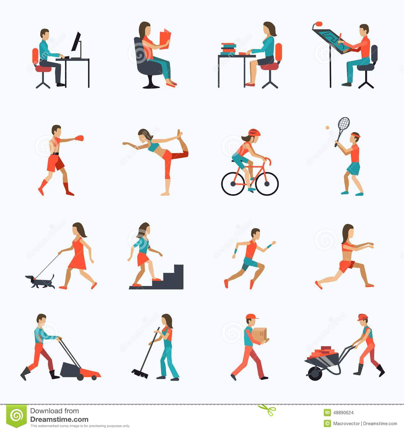 Physical Activity Icons Stock Vector Image 48890624