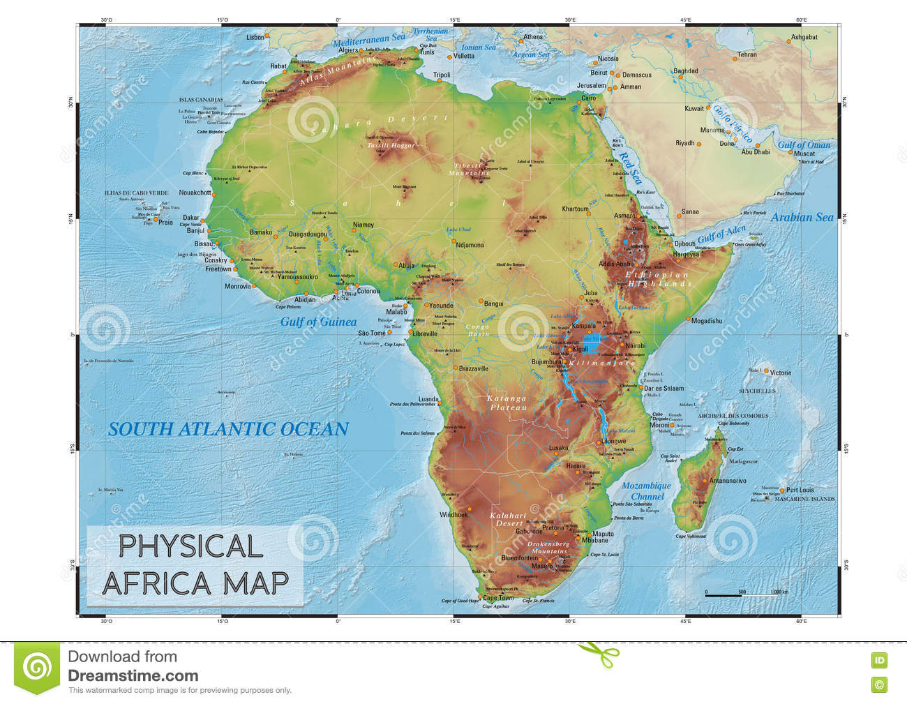 Physical Africa map stock vector. Illustration of mountains - 80884180