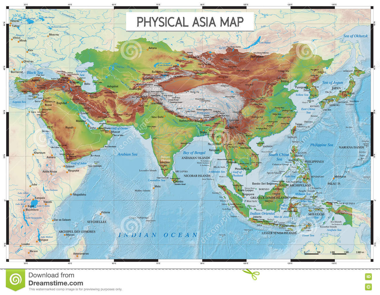 Big Map Of Asia.Physical Asia Map Stock Vector Illustration Of Physical 80885750