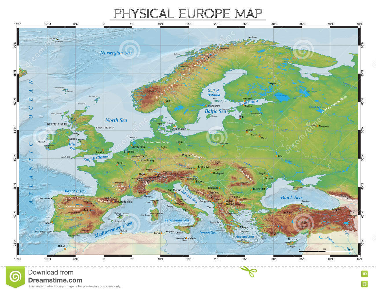 Physical Europe map stock vector. Illustration of boundaries ...