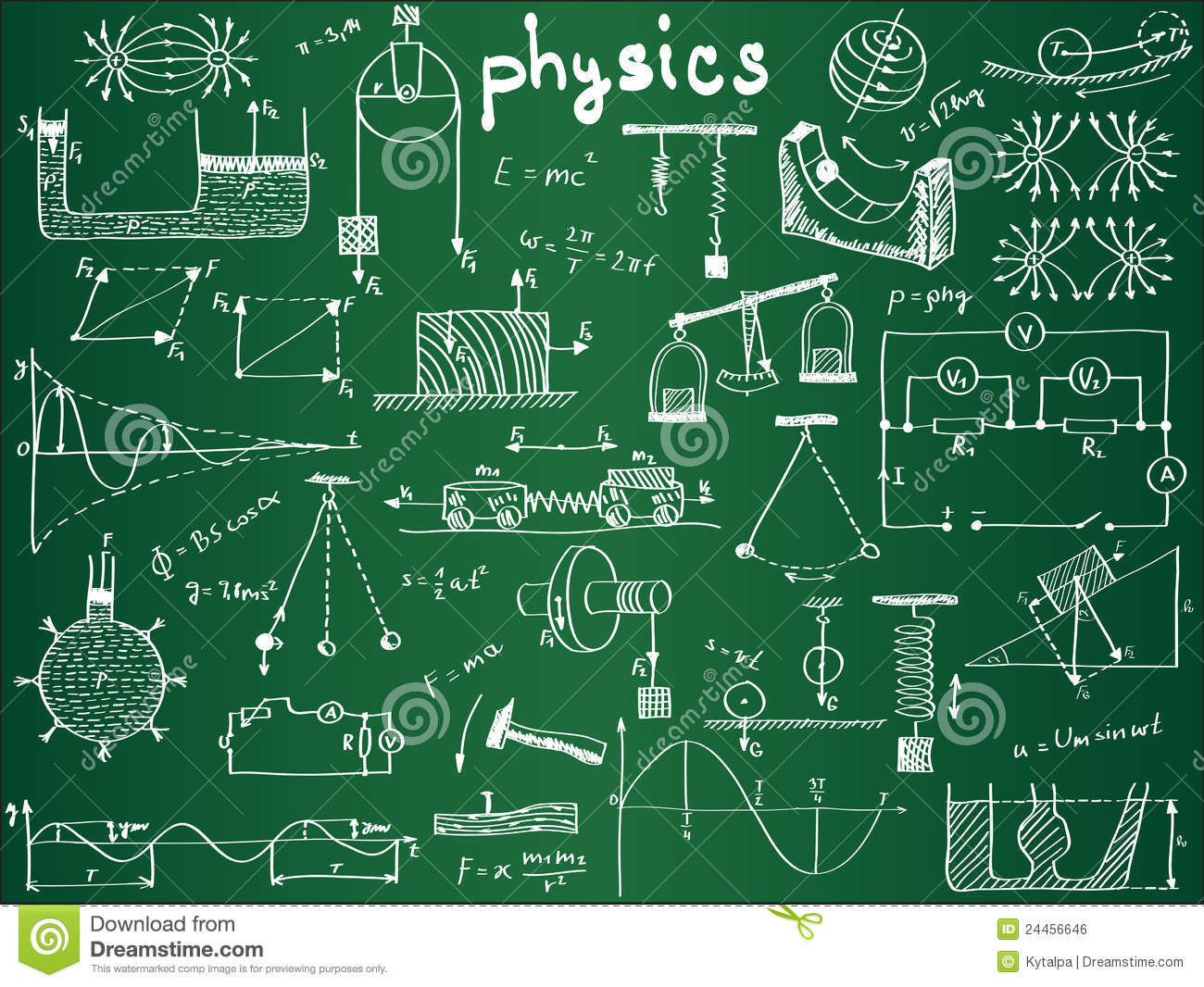 Physical Formulas And Phenomenons On School Board Royalty Free Stock ... Happy High School Student Clipart