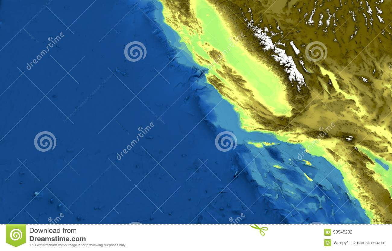 Picture of: Physical Map Of California San Francisco Los Angeles Mountains Pacific Ocean And Hills Mountain Ranges And Fault Of Sant Andr Stock Illustration Illustration Of Sant Bakersfield 99945292