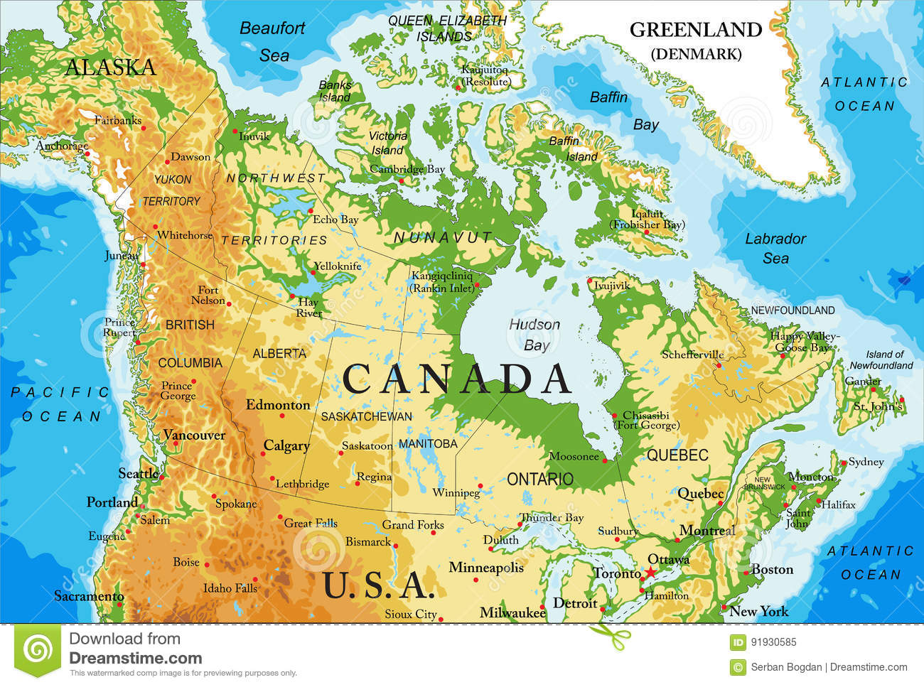 Physical Map Of Canada Stock Vector Illustration Of Illustration