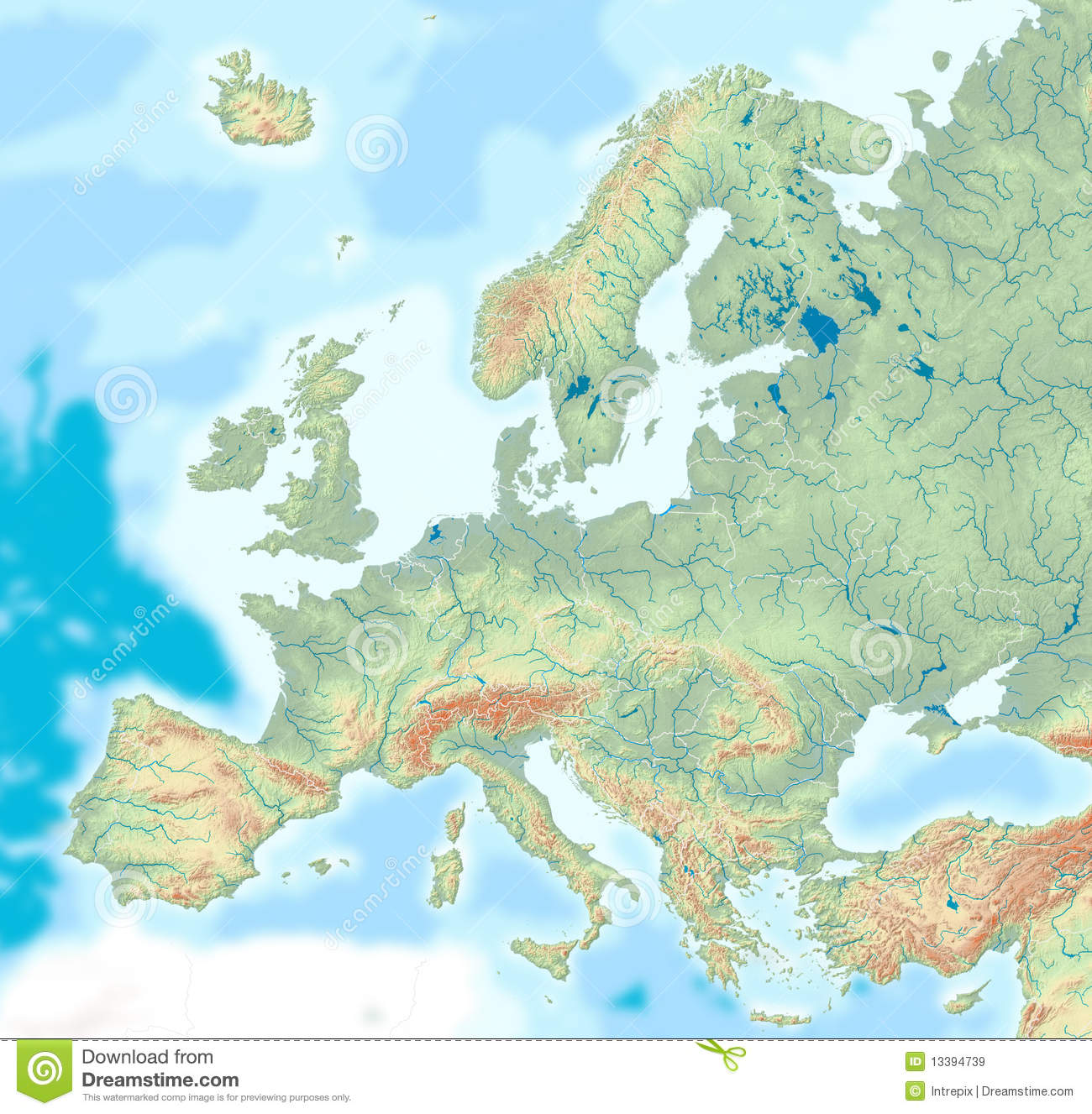 Physical Map Of Europe Royalty Free Stock Images Image - Europe physical map