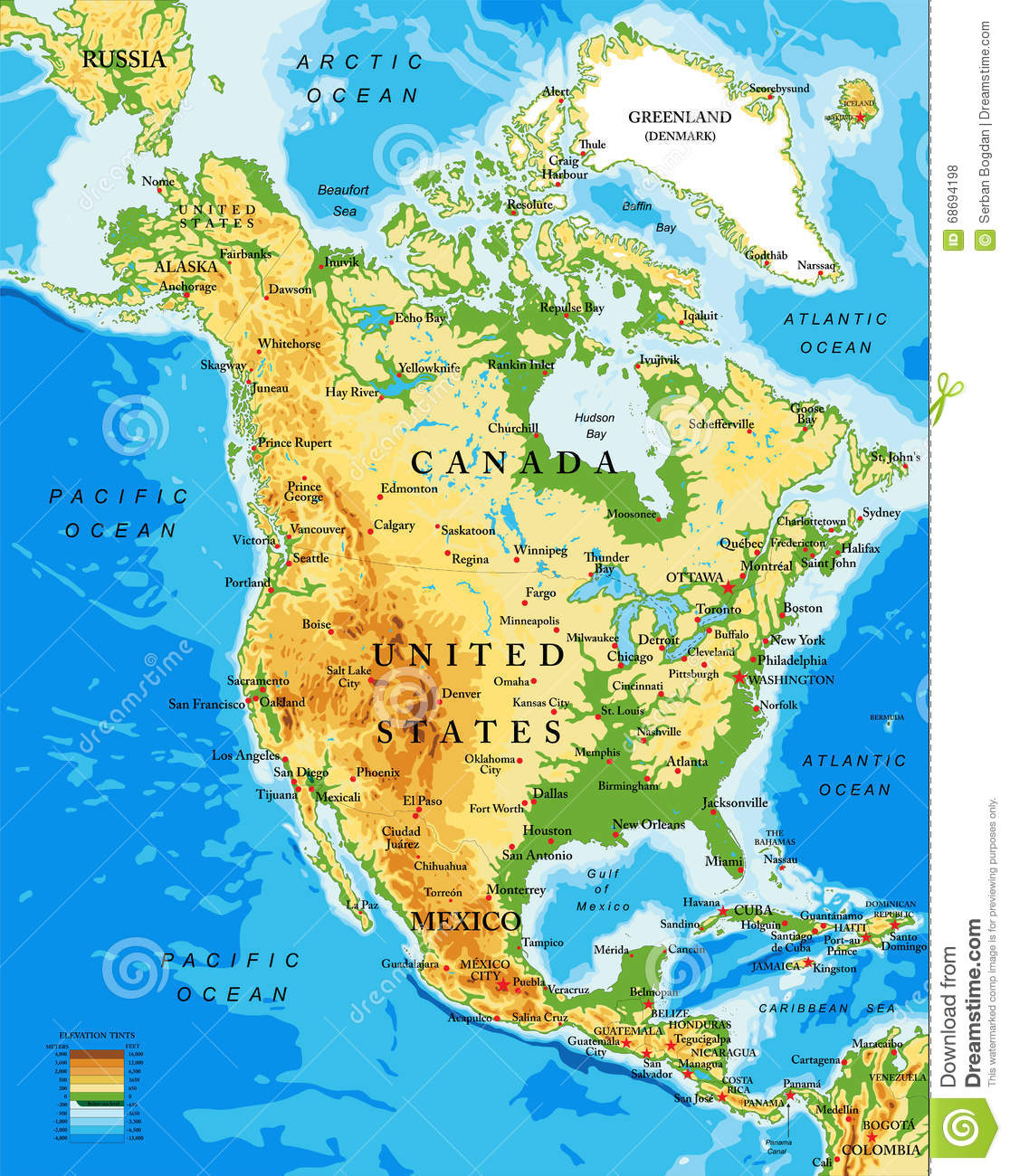 Physical Map Of North America Stock Vector - Illustration of panama ...