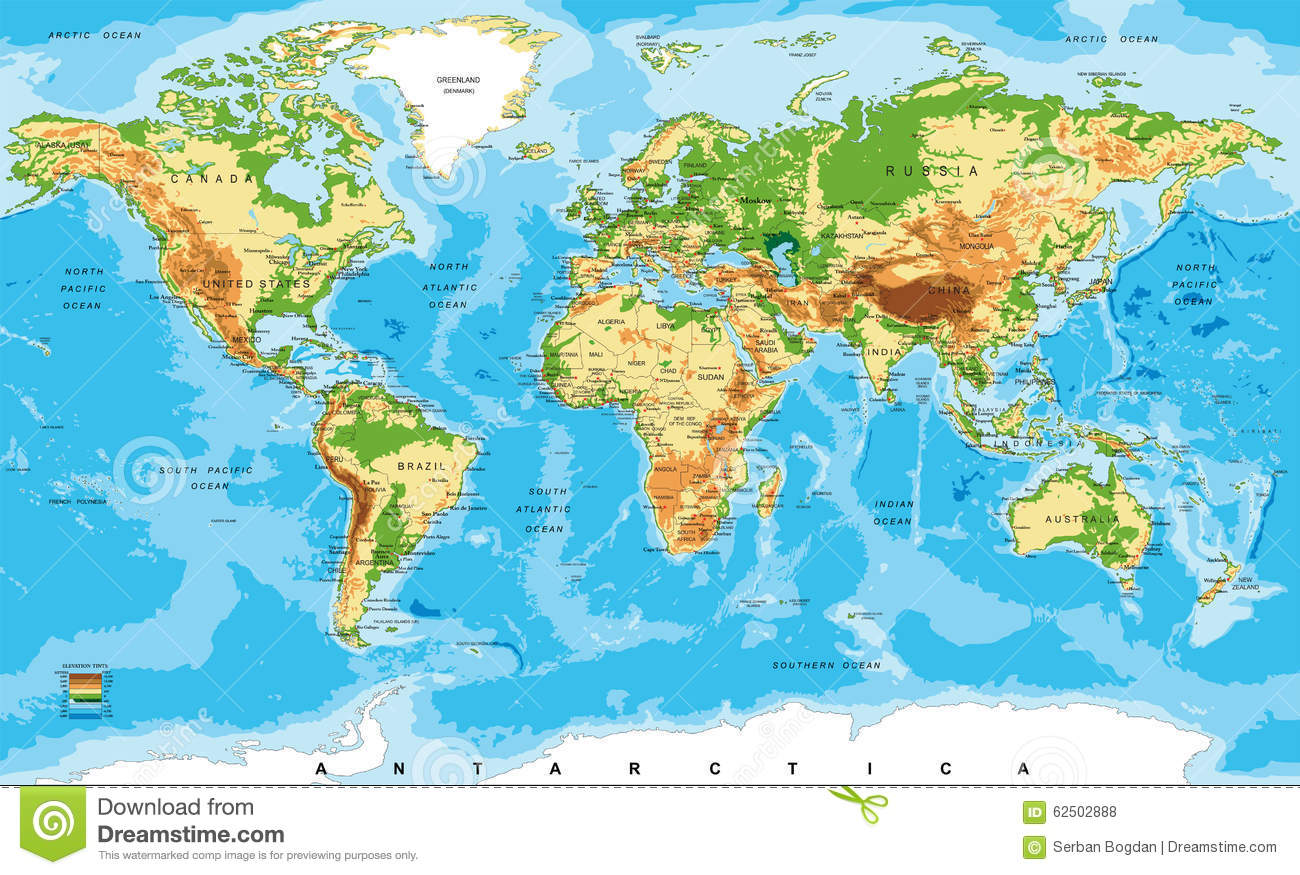 Highly detailed physical map of the world,in vector format,with all ...