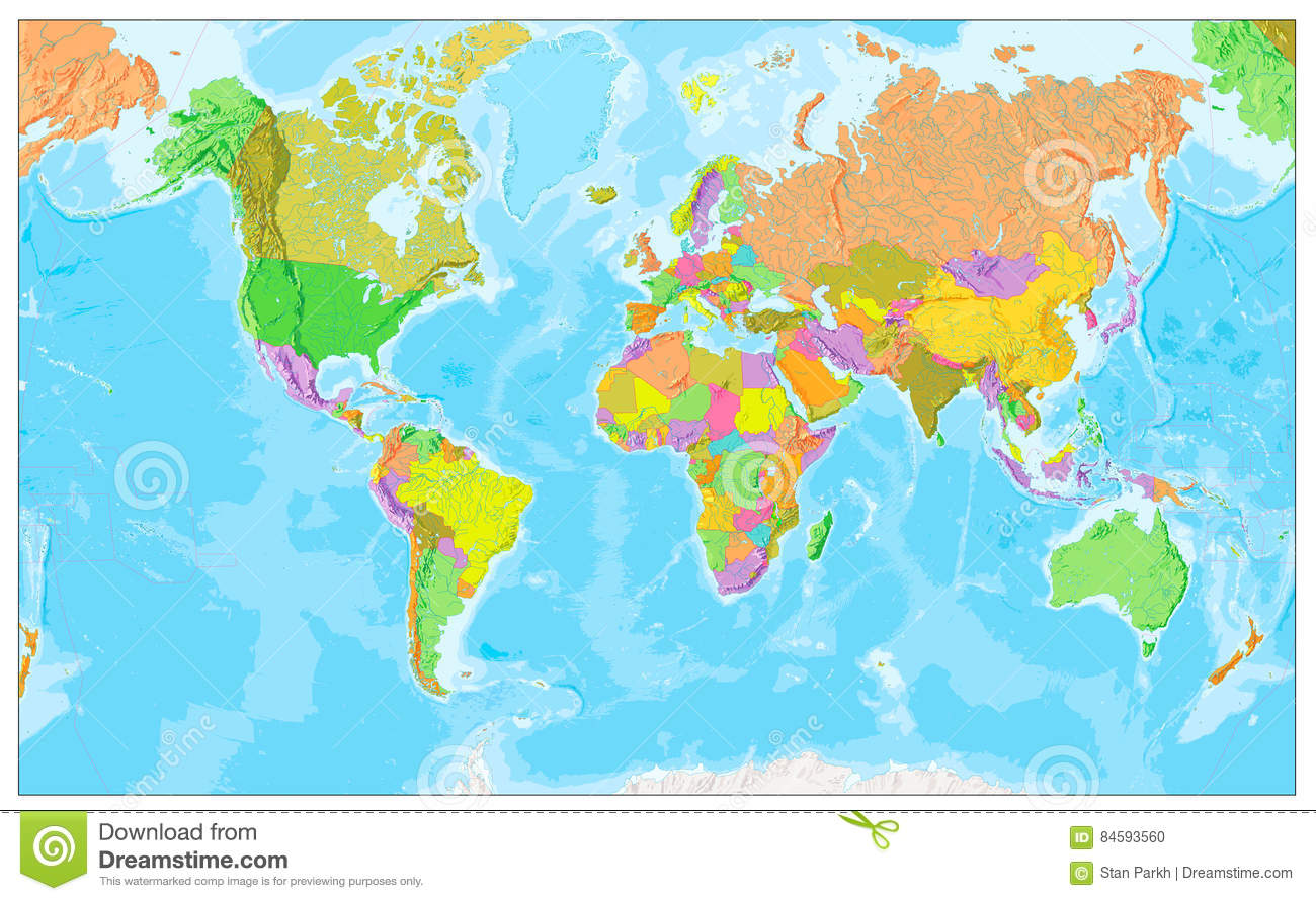 Physical World Map In Colors Of Political World Map Stock Vector