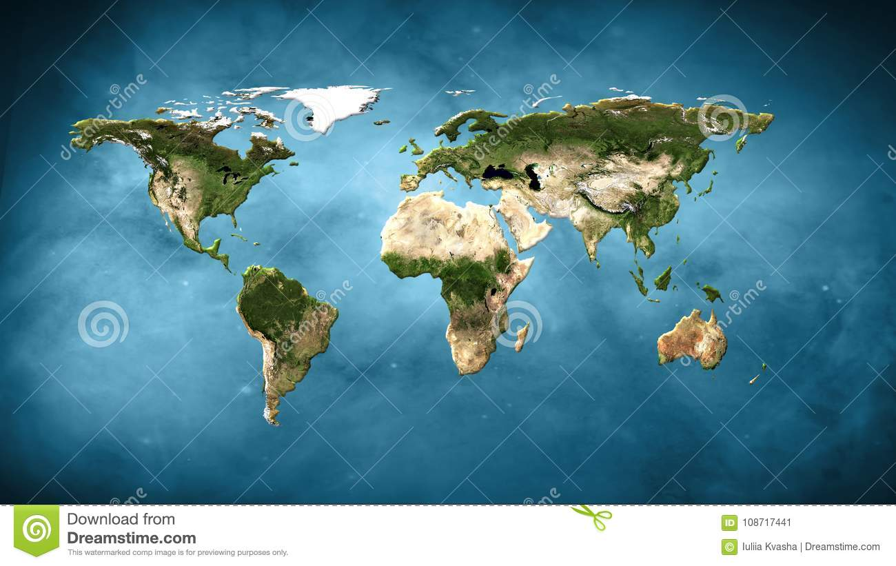 Physical World Map Illustration Elements Of This Image Furnished By