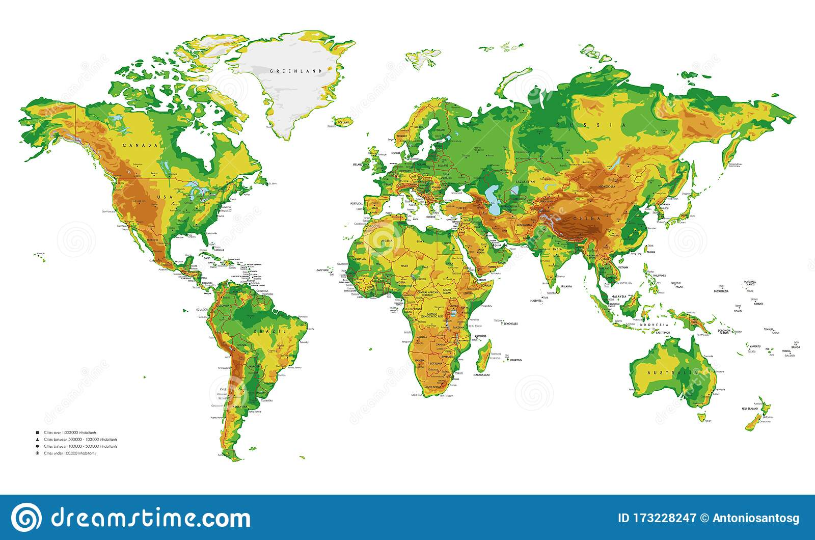 Picture of: Physical World Map Vector Illustration With Cities Countries And International Borders Stock Vector Illustration Of Capital Isolated 173228247