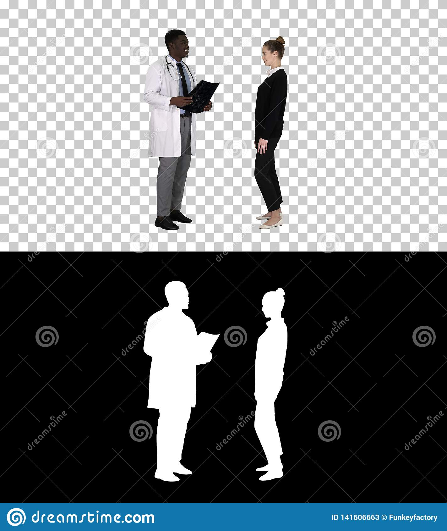 Physician showing a patient the X-ray results Then patient leaves, Alpha Channel