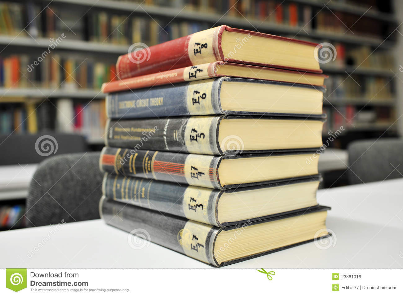 Physics Books On The Table In Library Stock Photo Image Of
