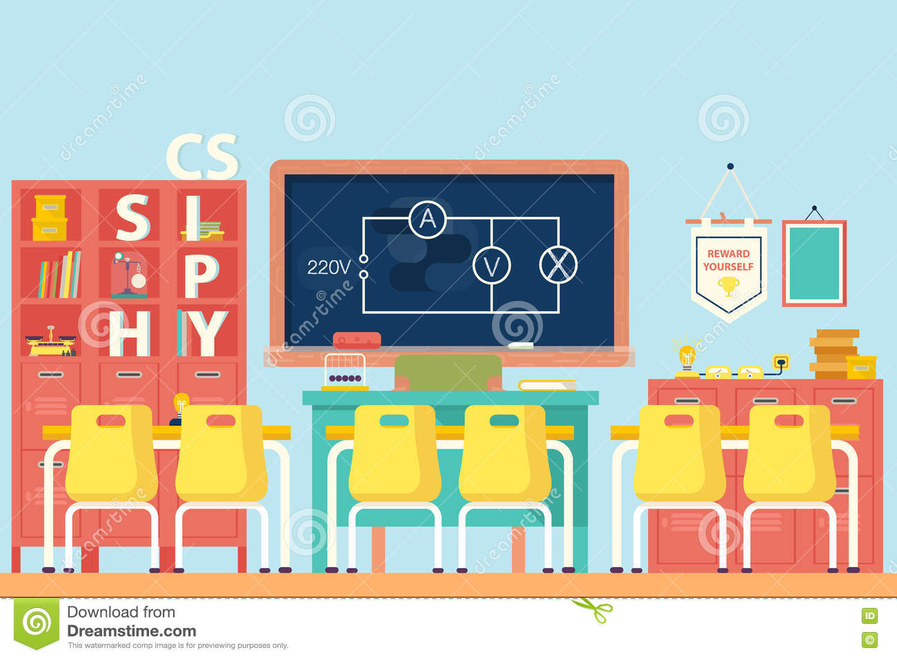 Physics Classroom With Electrical Circuit Stock Vector Diagram