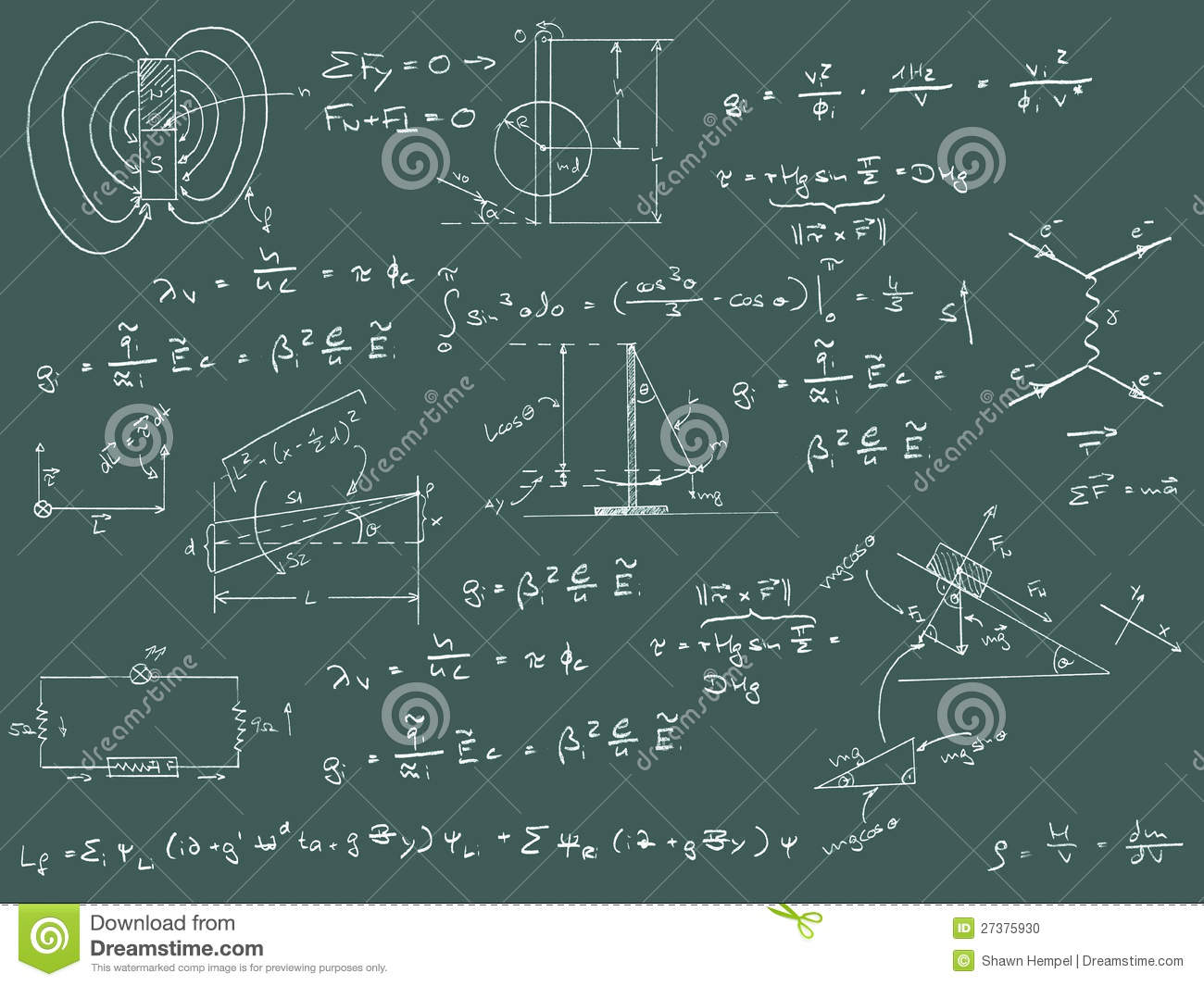 Physics Diagrams And Formulas Stock Photo Image 27375930