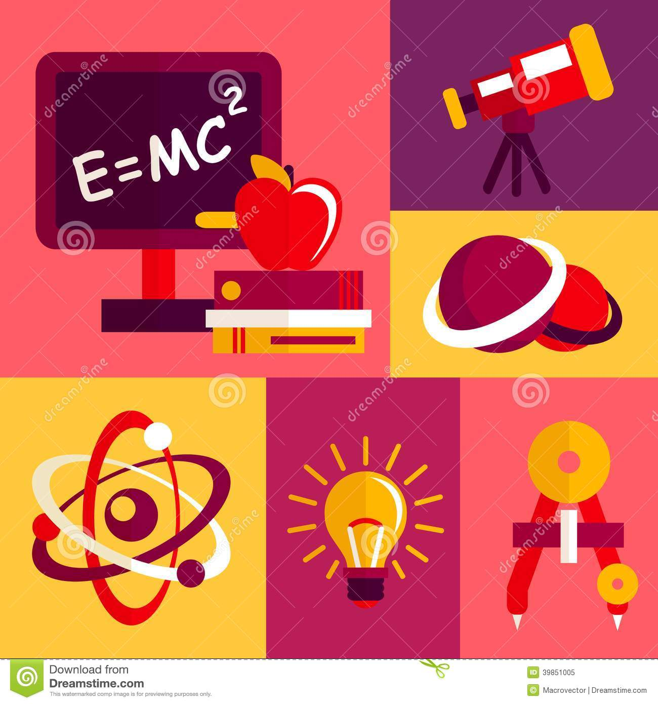 Physics flat design icons set stock vector image 39851005 for Physics planning and design experiments