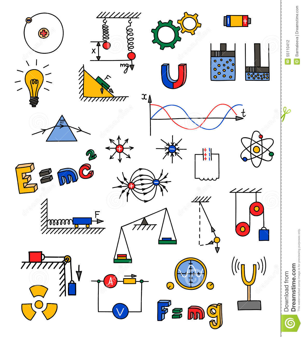 Physics icon stock vector image 55110412 for Physics planning and design experiments