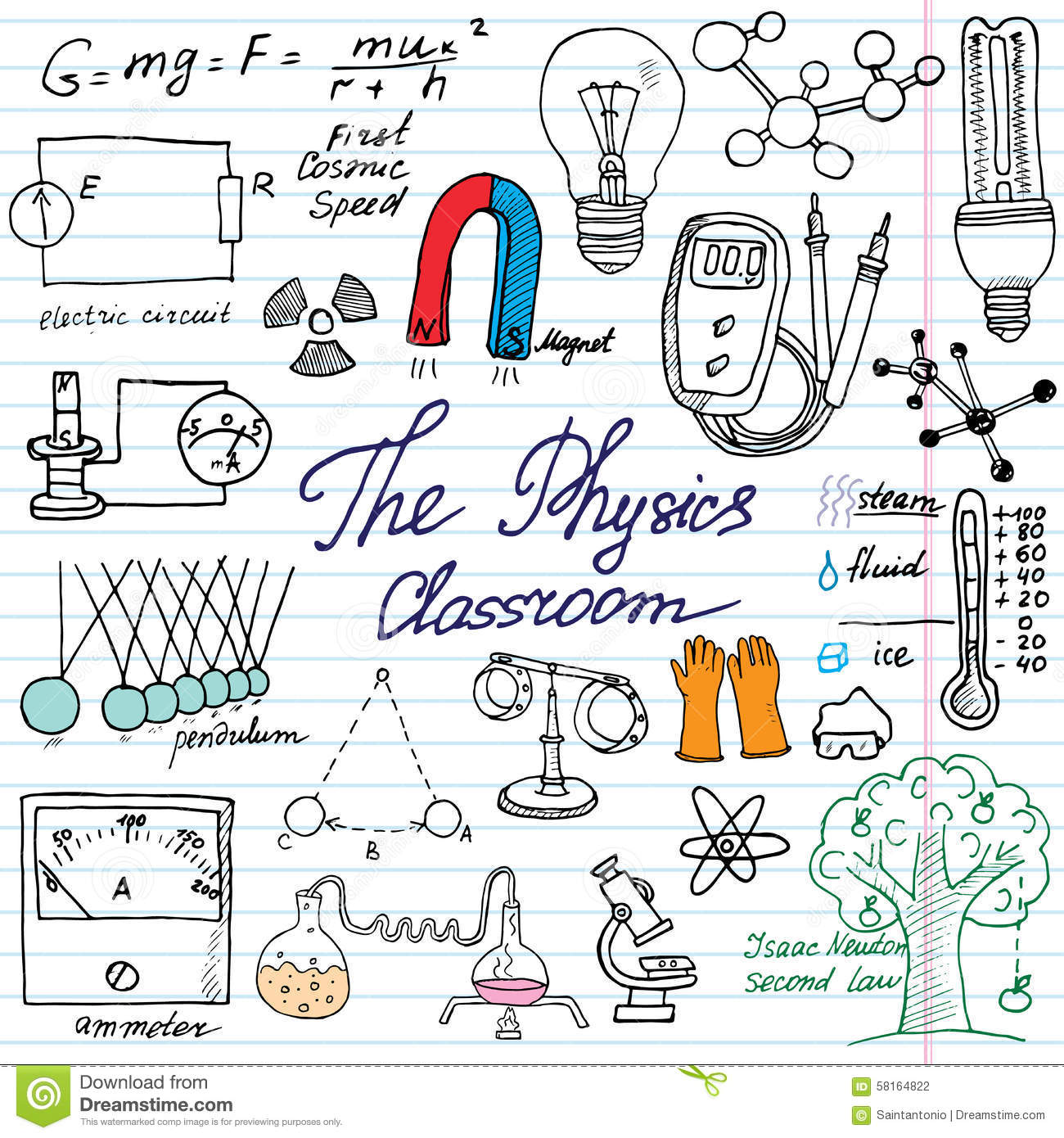 Science Notebook Doodles Stock Image - Image: 22658021
