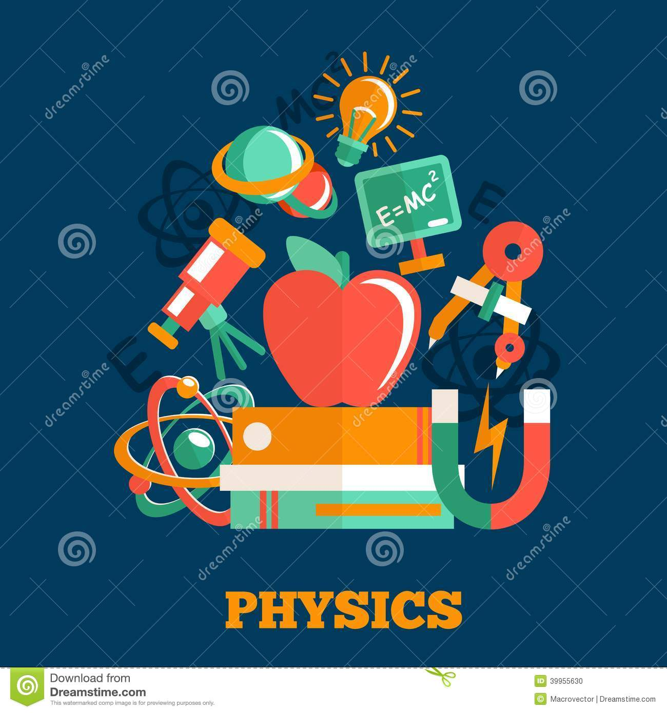 physics science vector illustration flat poster books linear matrices solvable sign atom magnet systems preview equipment 1995