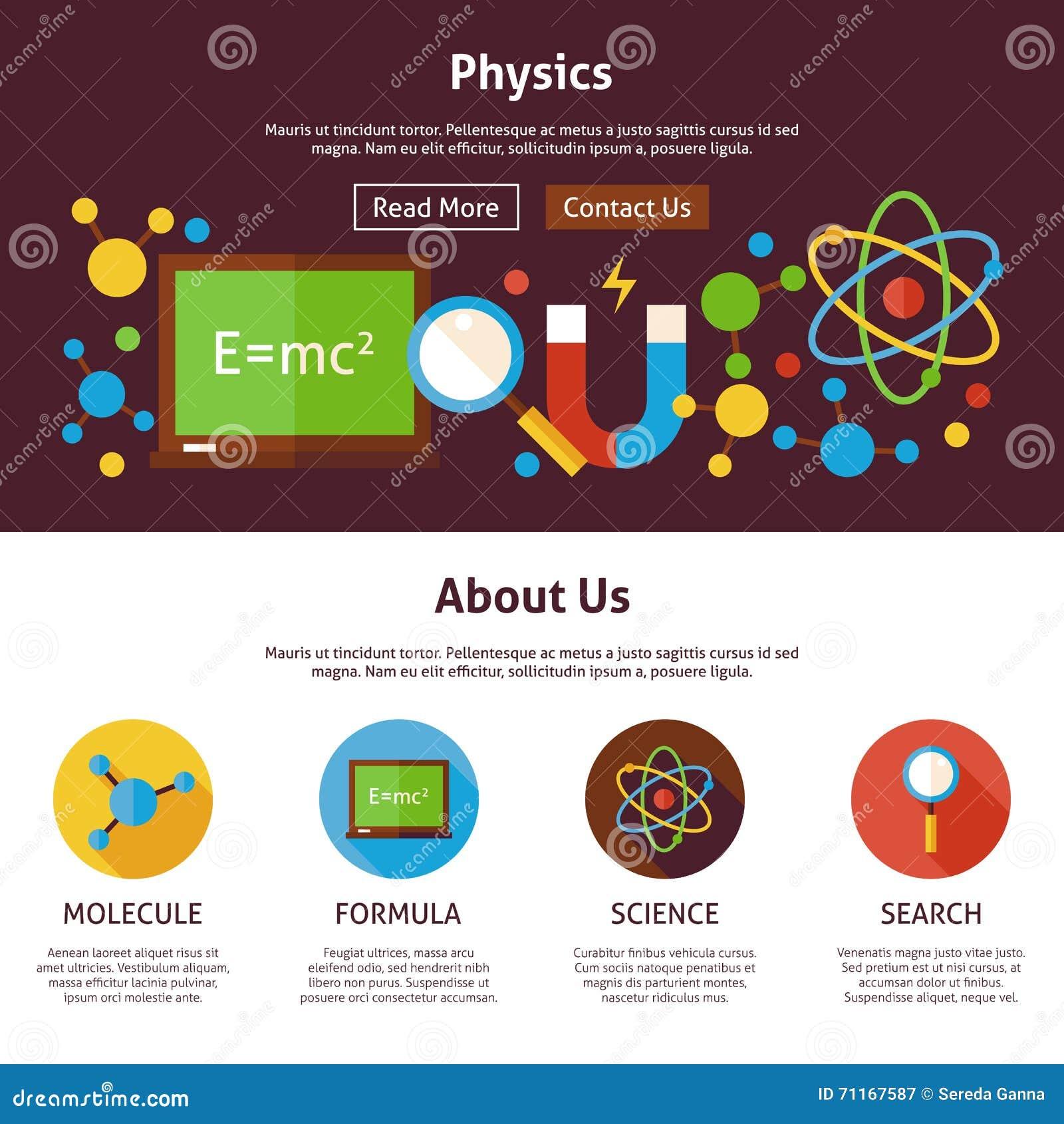 Vector Illustration Web Designs: Physics Science Flat Web Design Template Stock Vector