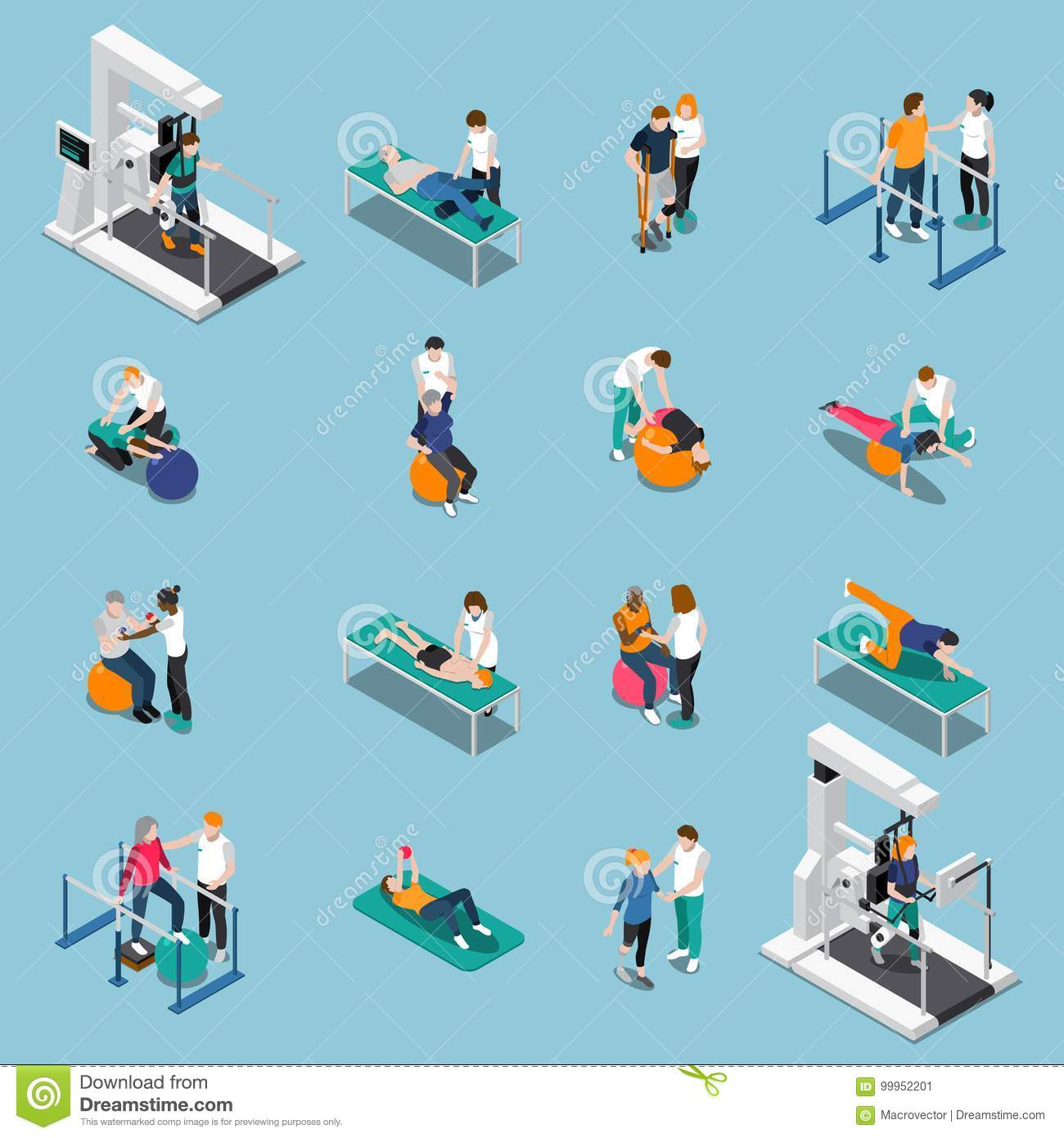 Isometric Exercises Equipment: Rehabilitation Cartoons, Illustrations & Vector Stock