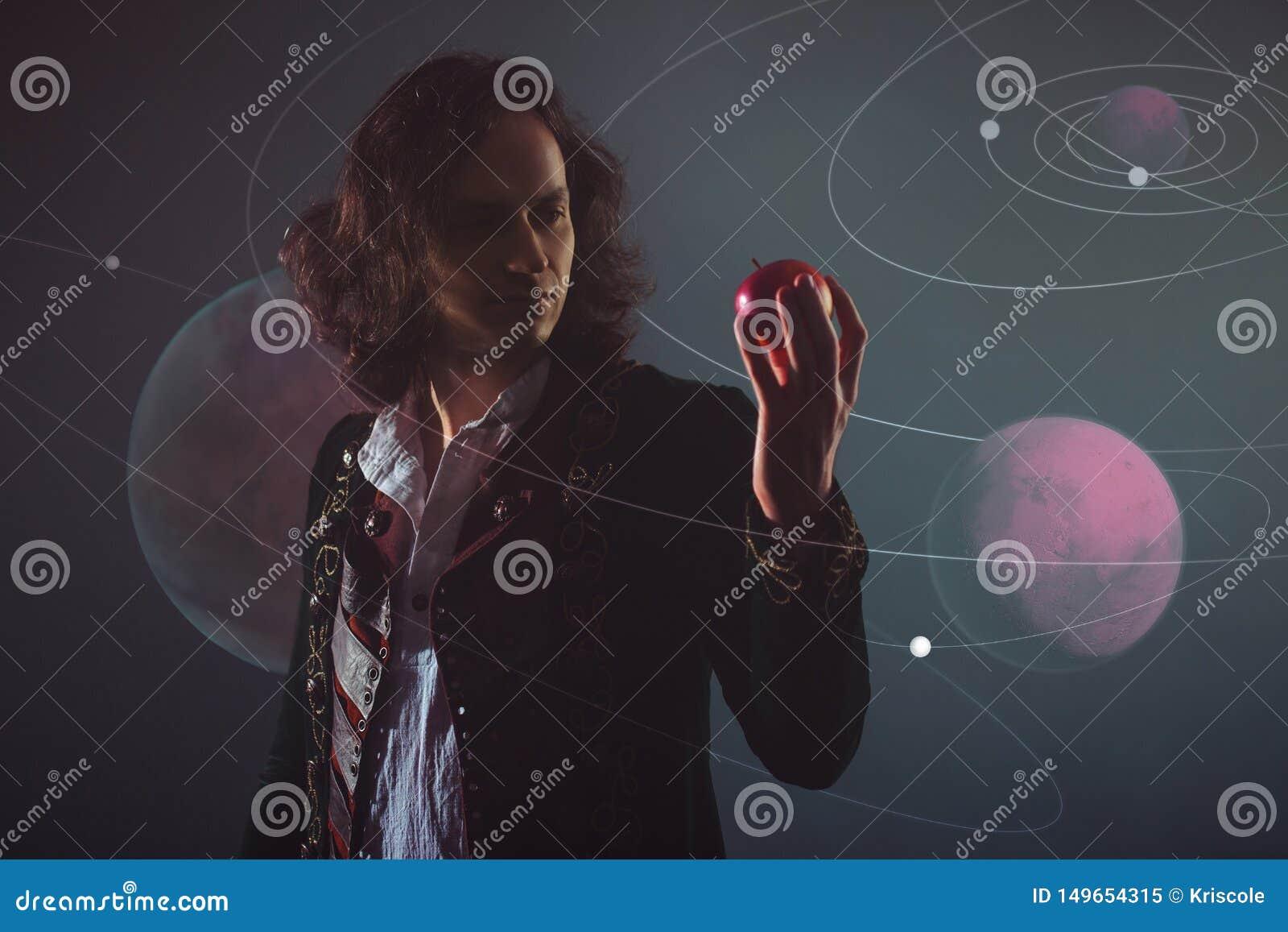 Physique la science de la nature, le concept d ?tudier les lois de la nature Un jeune homme dans l image d Isaac Newton