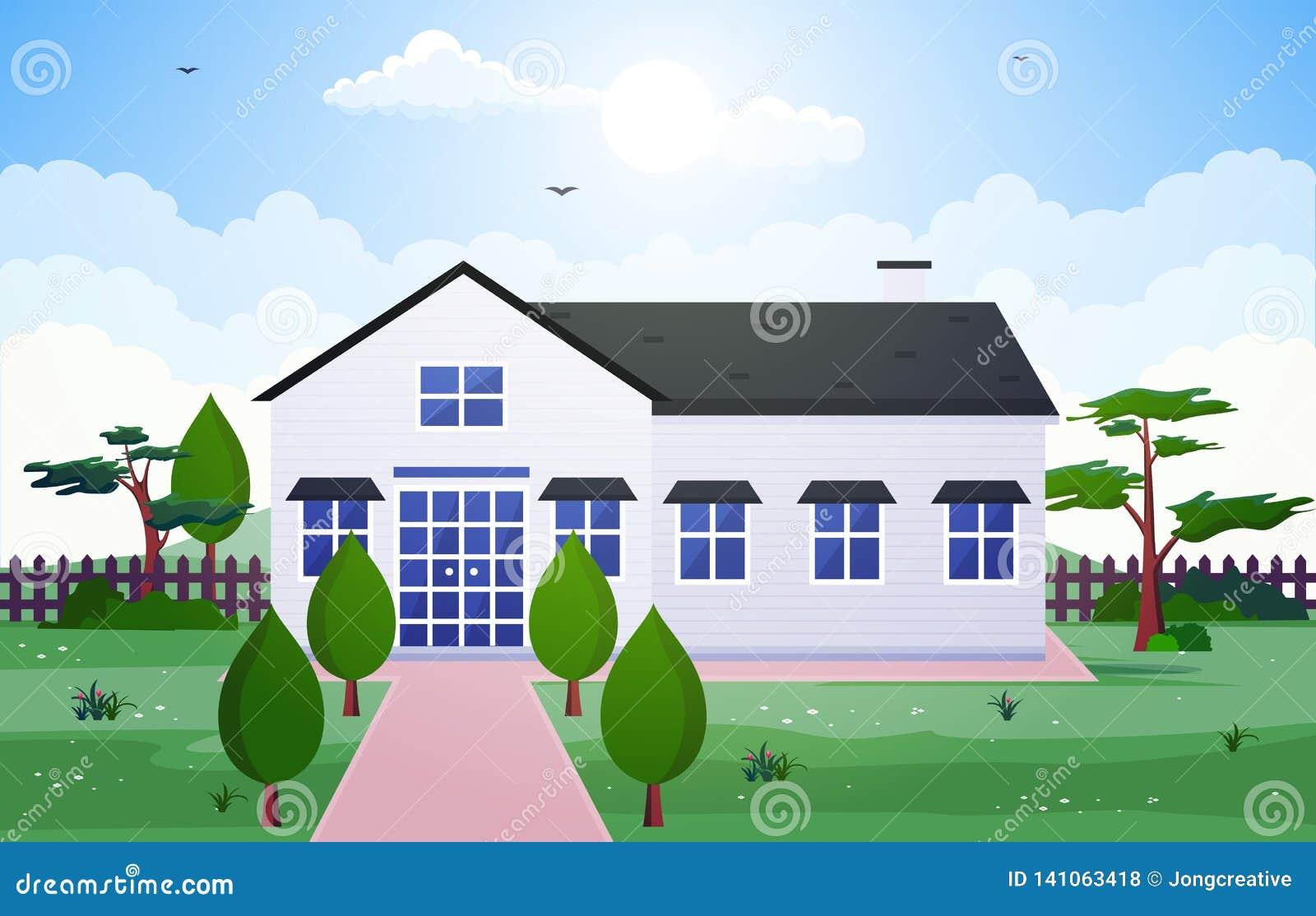 Pięknego Nowożytnego Domowego Zewnętrznego Fasadowego jarda Mieszkaniowa ilustracja
