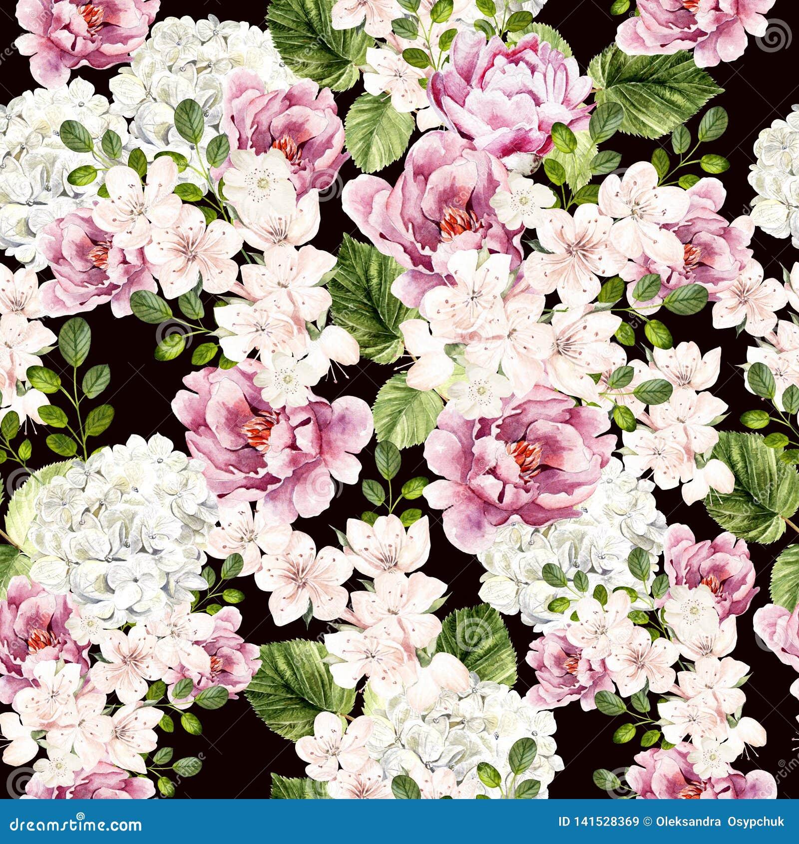 Pięknej akwareli jaskrawy wzór z peonią, hudrangea i wiosną, kwitnie