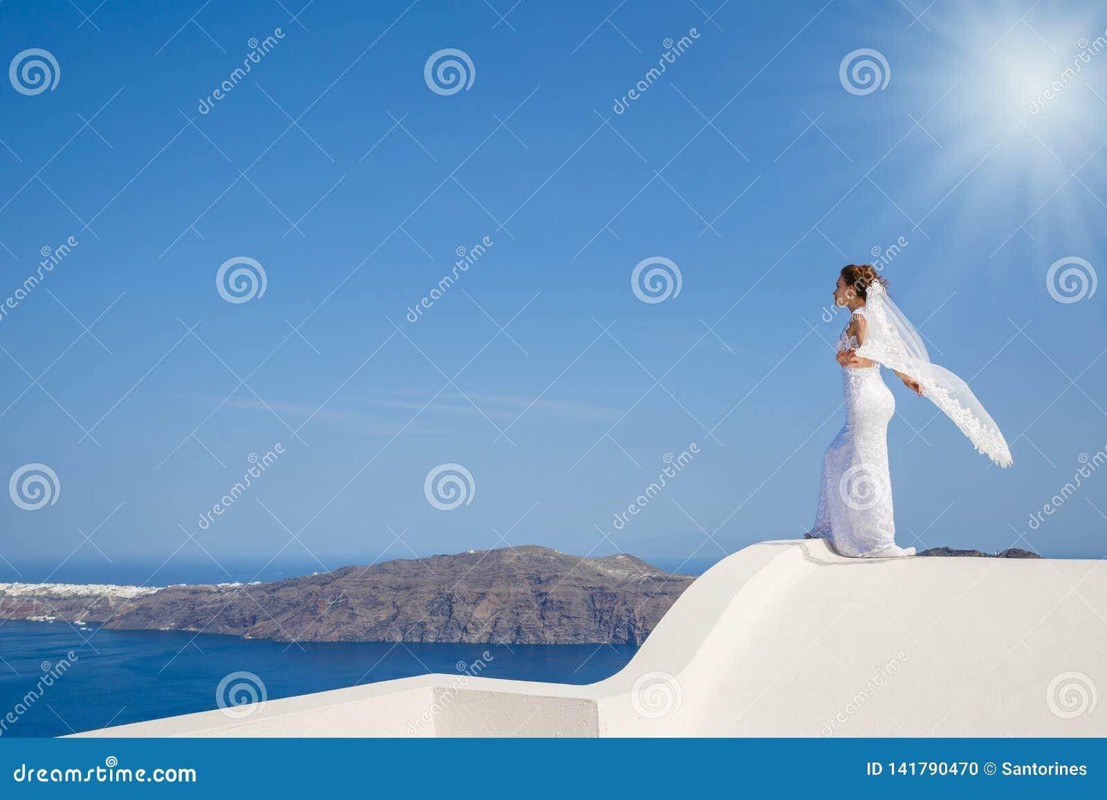 Piękni panna młoda stojaki na wysokość dachu