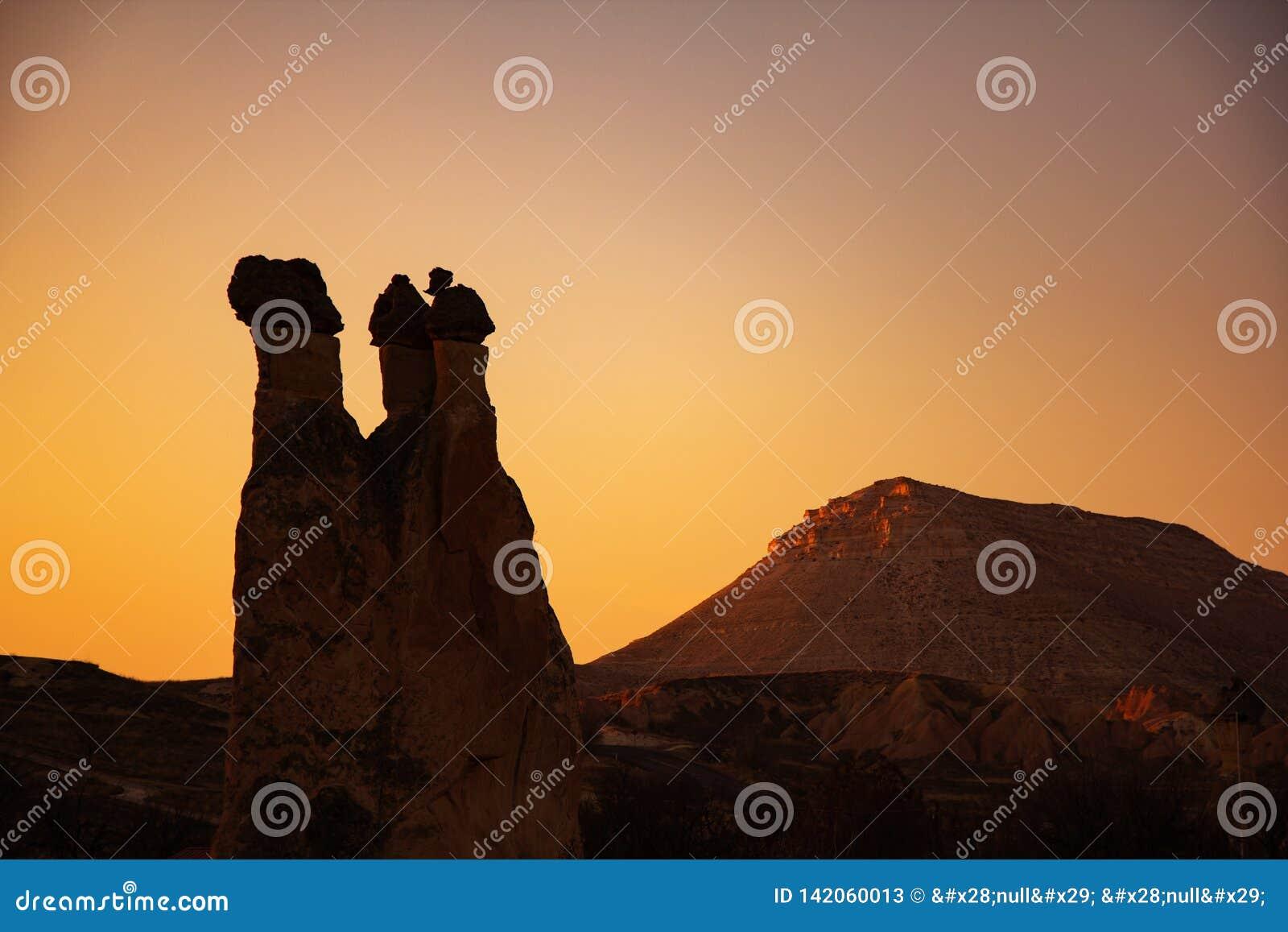 Piękny wschód słońca widok od balonu przy Cappadocia, Turcja