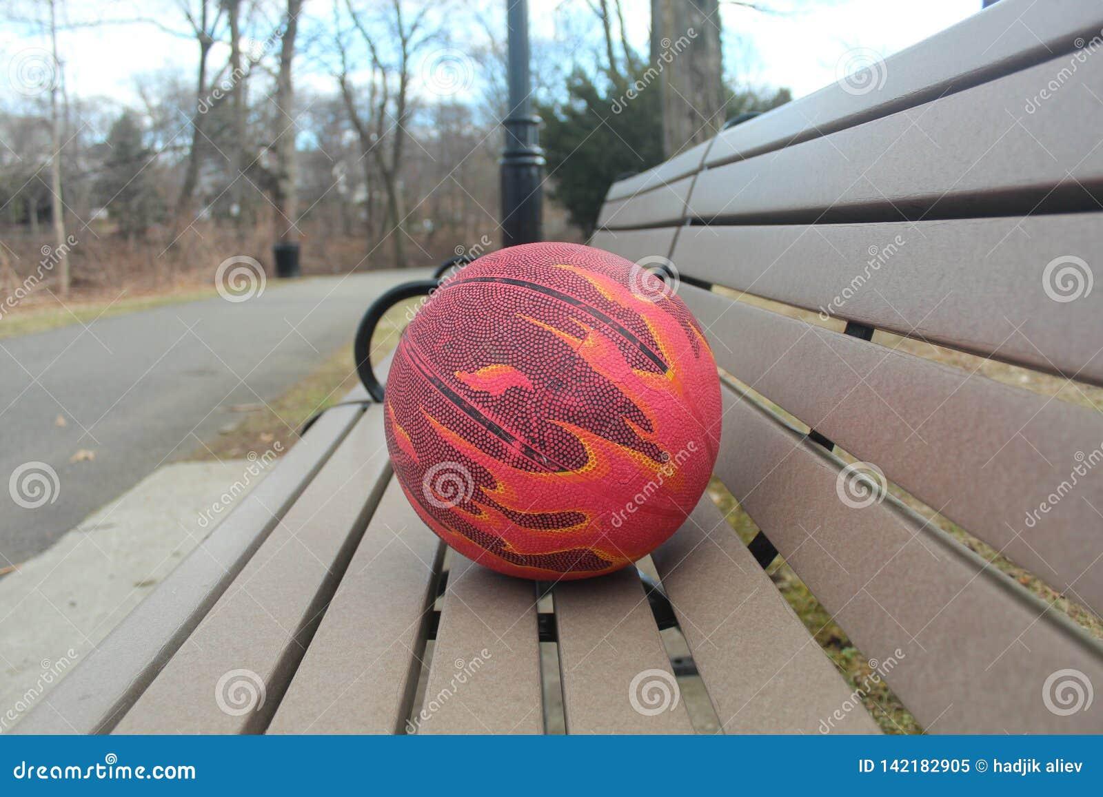 Piłka dla koszykówki na park ławce