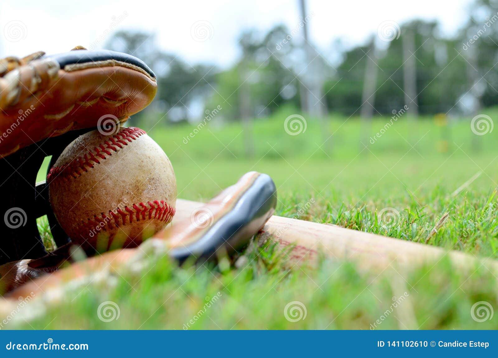 Piłka w rękawiczce z kijem bejsbolowym