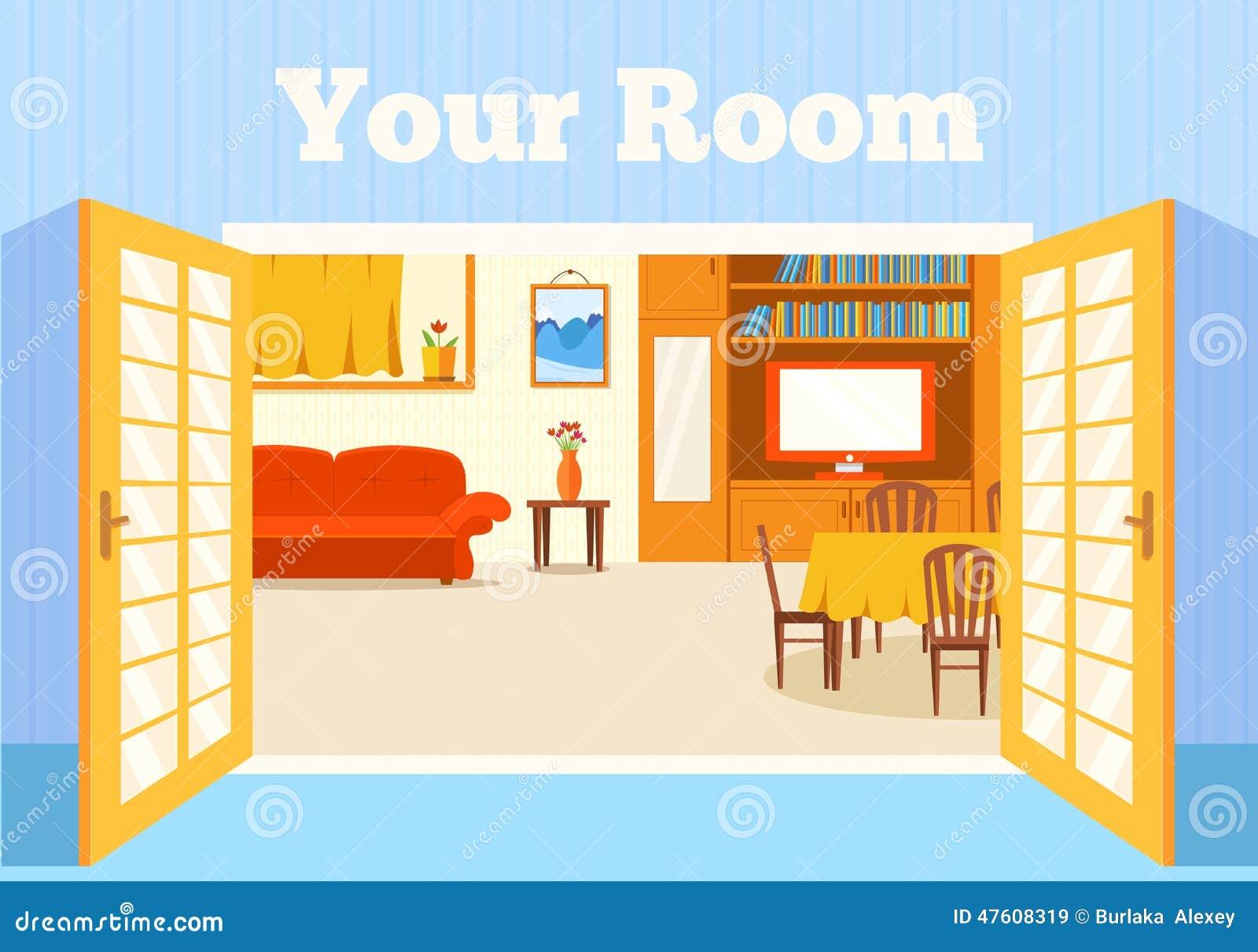 Pièce confortable plate dans la maison avec le fond de portes ouvertes