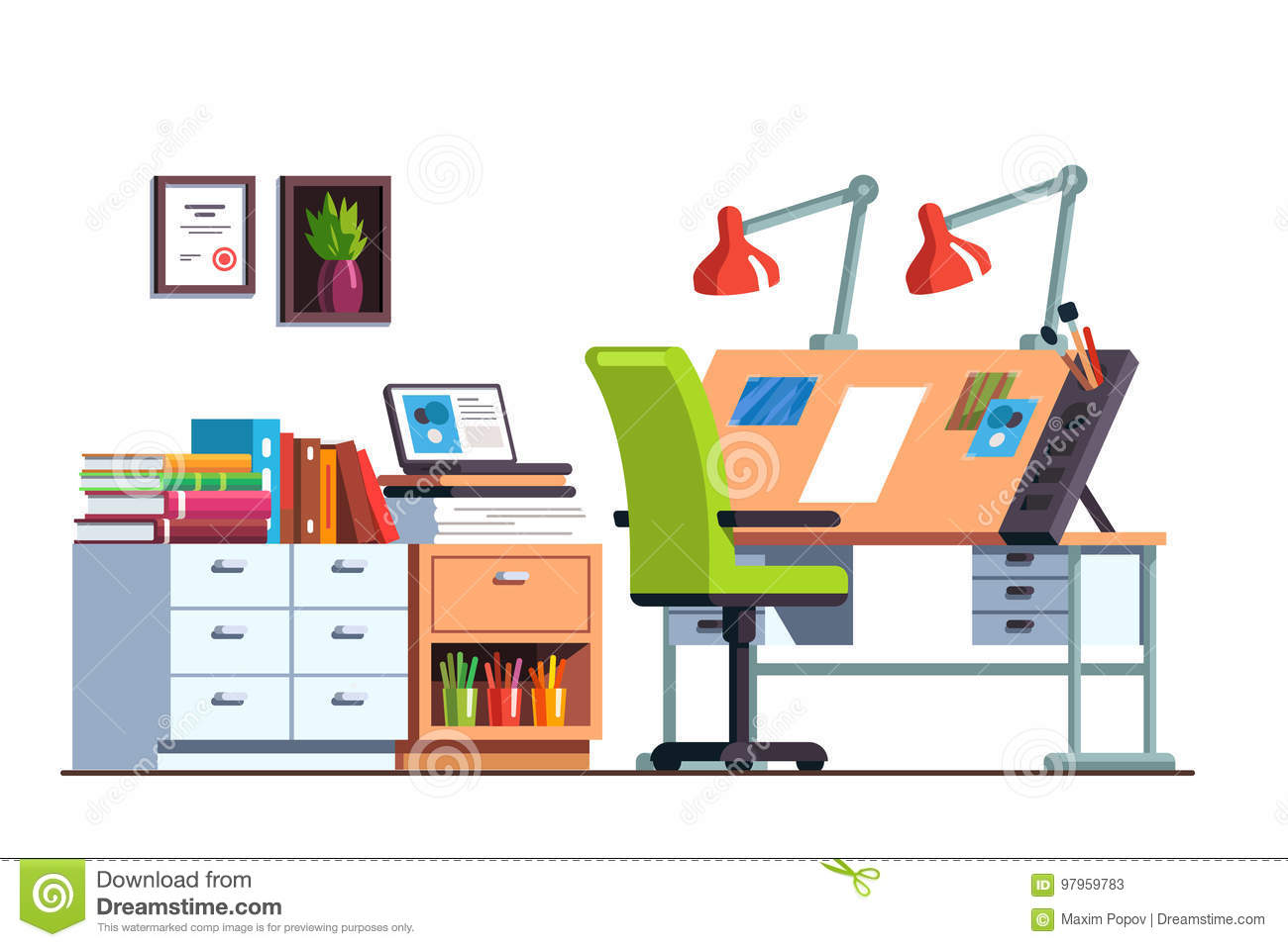 pi ce d 39 atelier ou de bureau d 39 ing nieur avec le bureau de dessin illustration de vecteur. Black Bedroom Furniture Sets. Home Design Ideas
