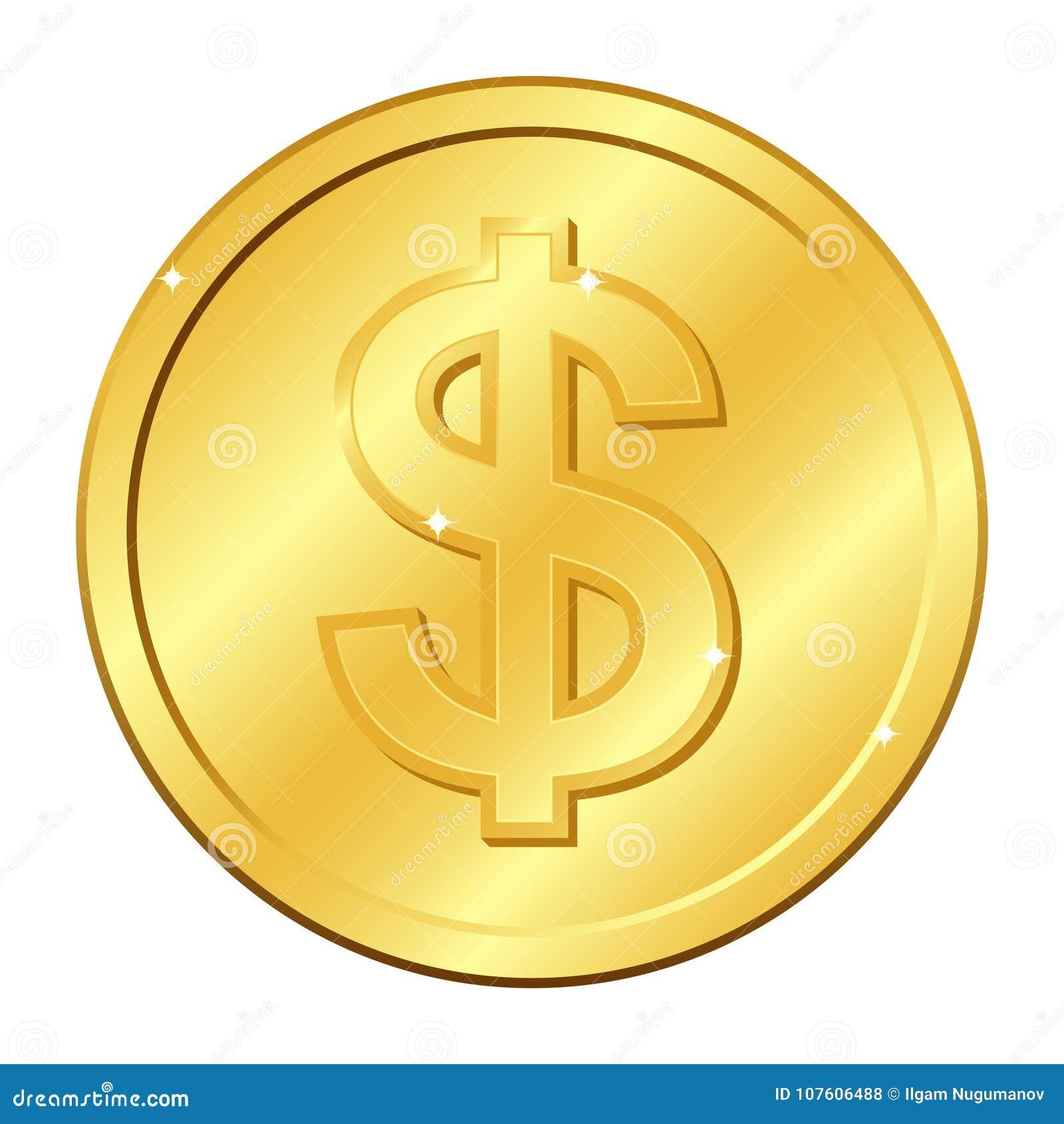 Pièce d or de devise du dollar Illustration de vecteur d isolement sur le fond blanc Éléments et éclat Editable
