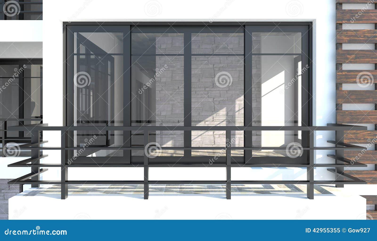 Pi ce 3d de la vue ext rieure devant le balcon c 39 est bot for Front balcony designs india