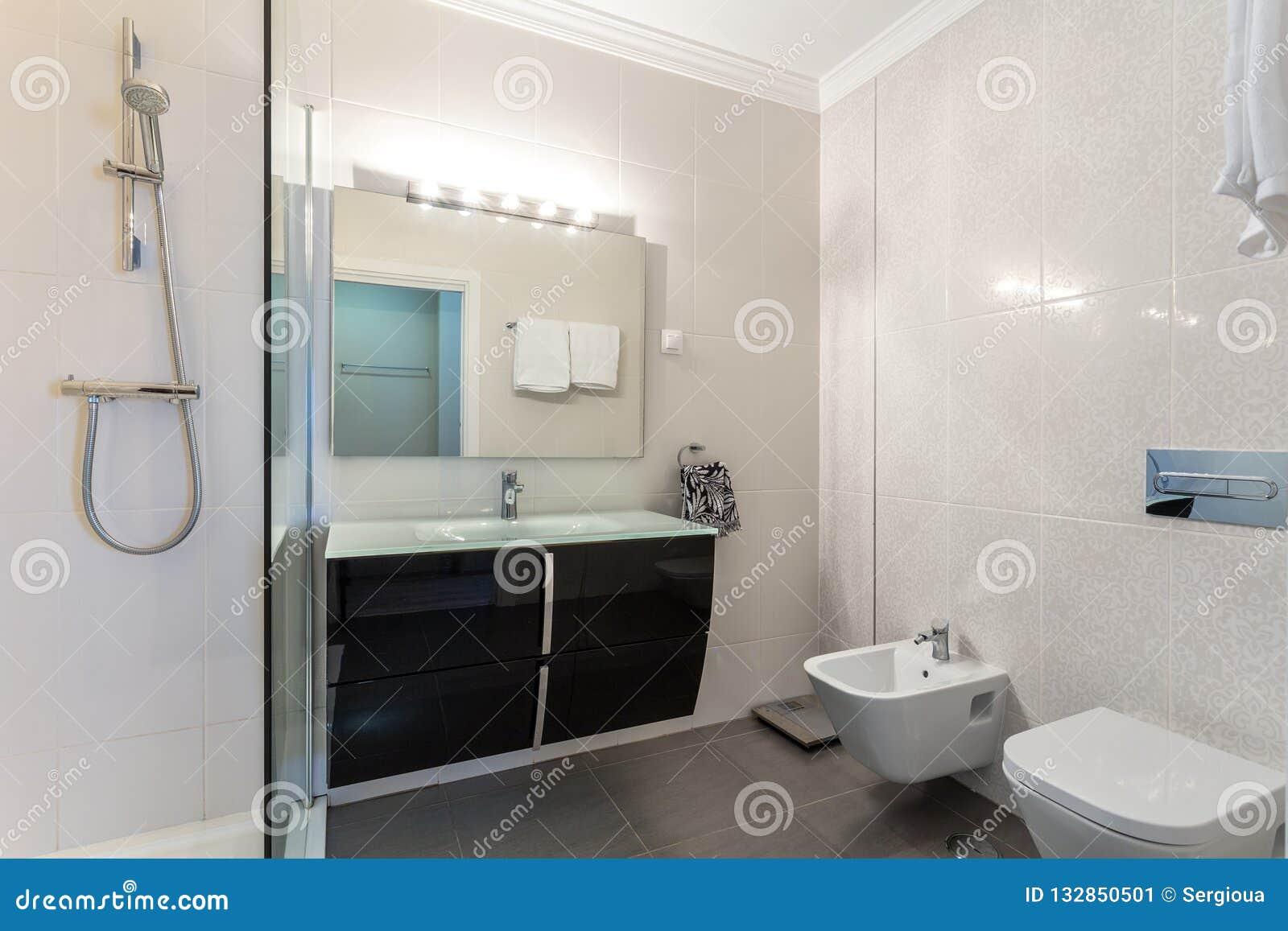 Pièce De Douche Moderne De Salle De Bains Avec La Toilette Et Les ...